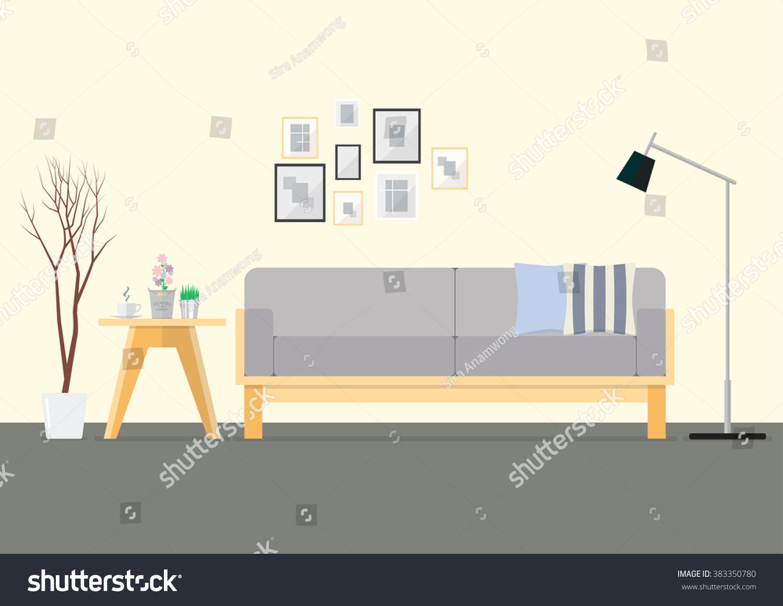 Flat Design Interior Living Room. Vector Illustration