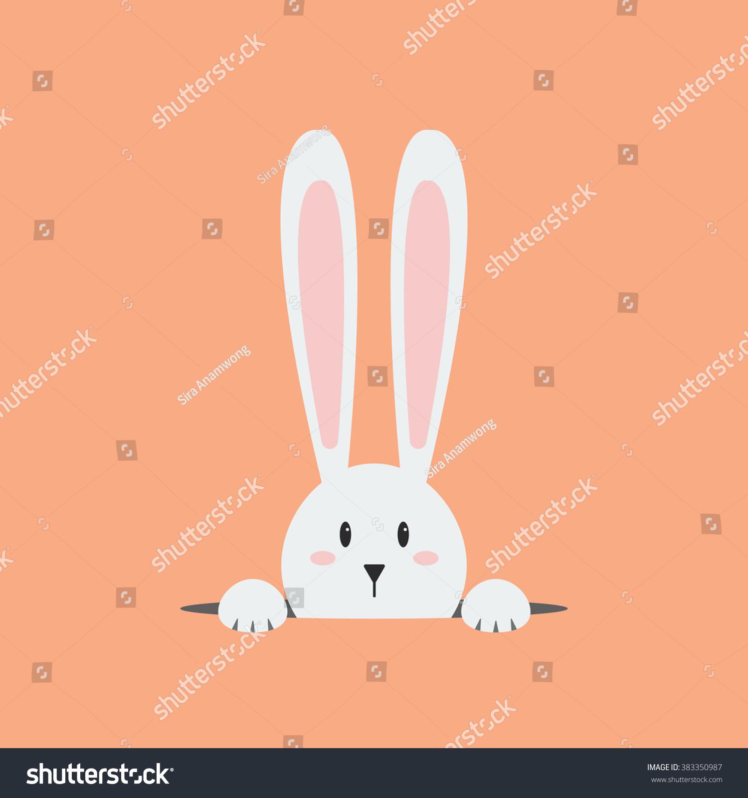 white easter rabbit easter bunny stock vector 383350987