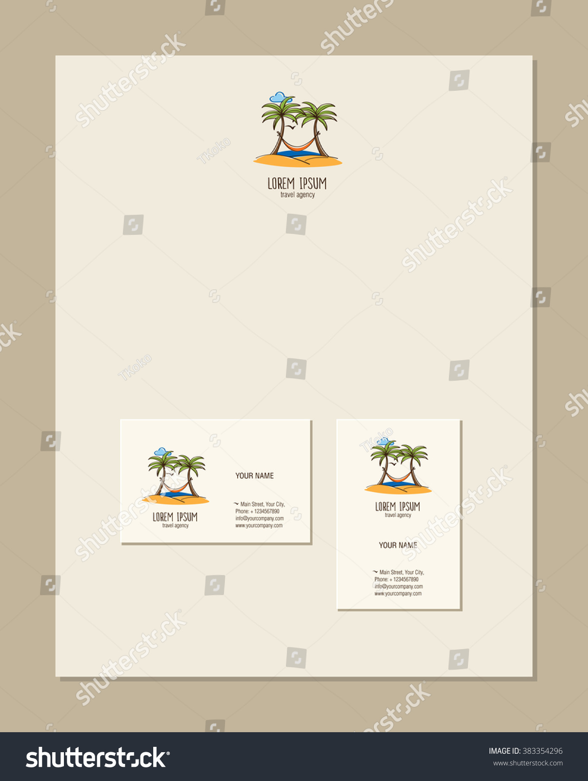Travel Agency Business Card Template Palm Stock Vector 383354296 ...