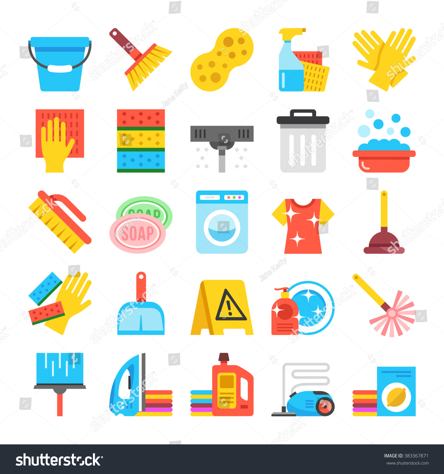 Household Supplies Icons Set Cleaning Flat Stock Vector