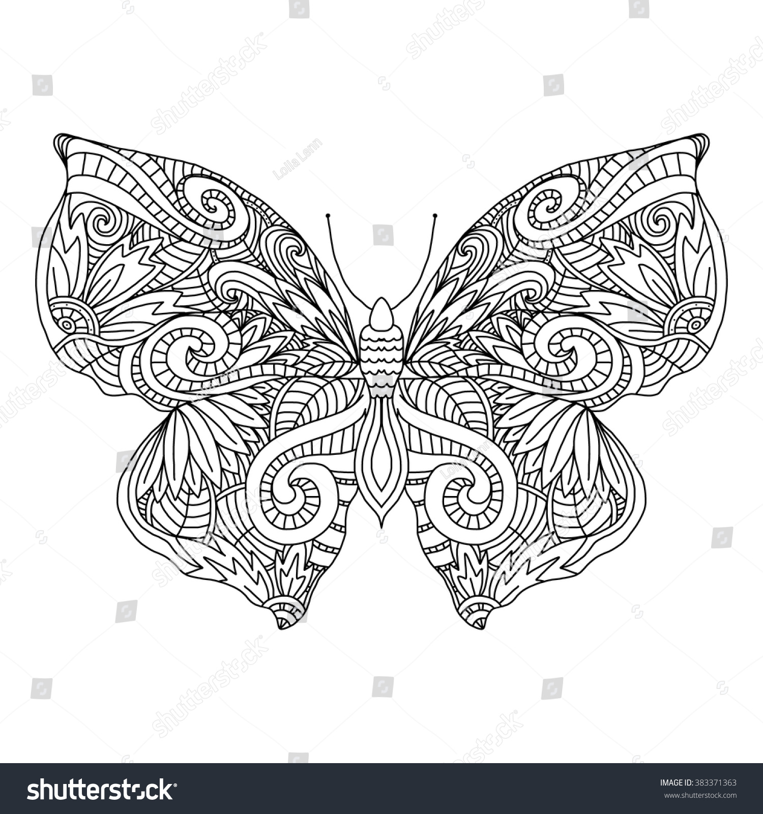 ButterflyHand Drawn Ethnic Patterned In Doodle Zentangle Style Coloring Book Page For