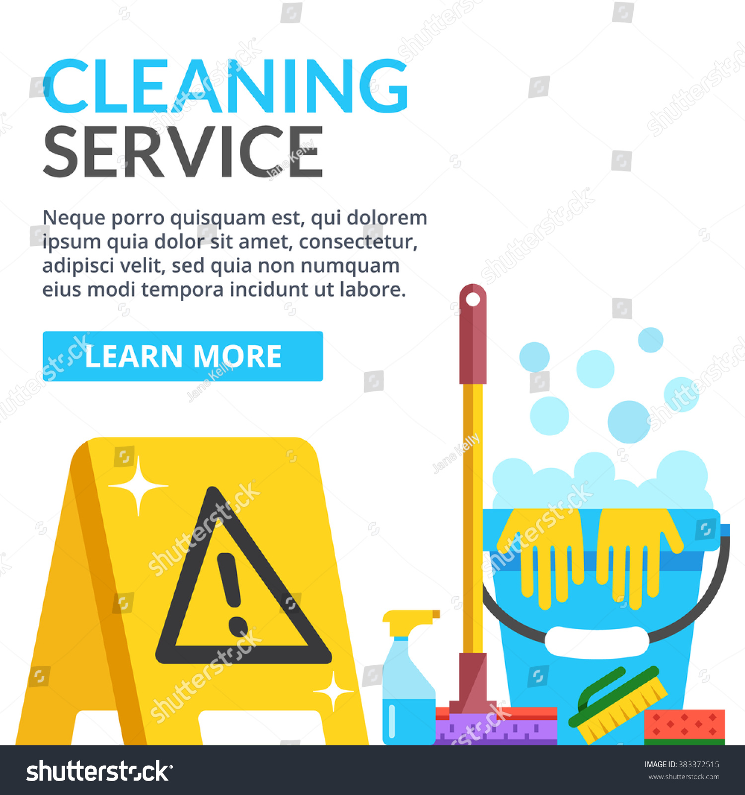 Cleaning service flat illustration creative modern web for Floor banner