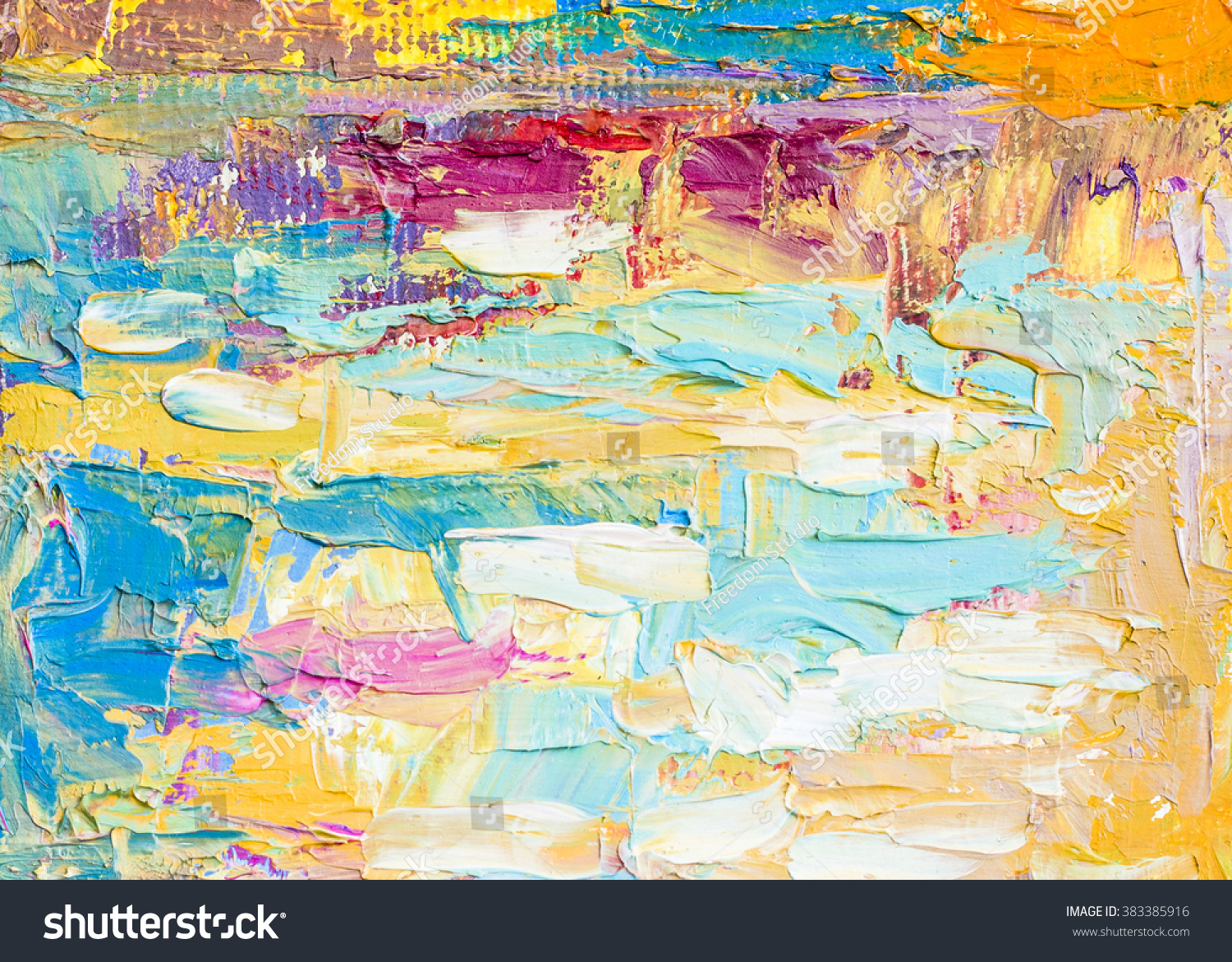 Original Colorful Thick Oil Painting Brush Strokes Palette Knife Texture Background On Canvas Can Use