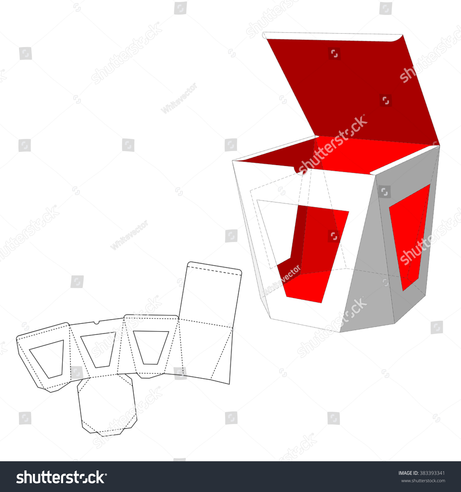 box windows die cut template packing stock vector  box windows die cut template packing box for food gift or other products
