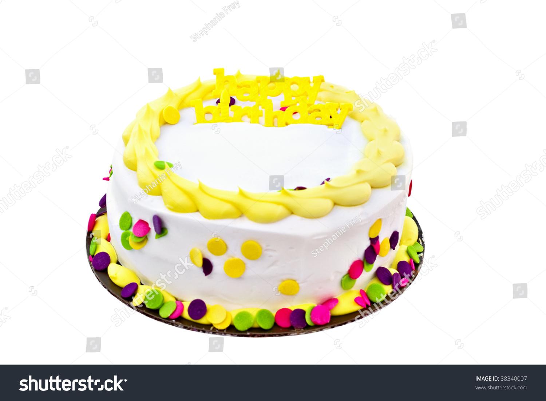 Delicious White Vanilla Birthday Cake Yellow Stock Photo Edit Now