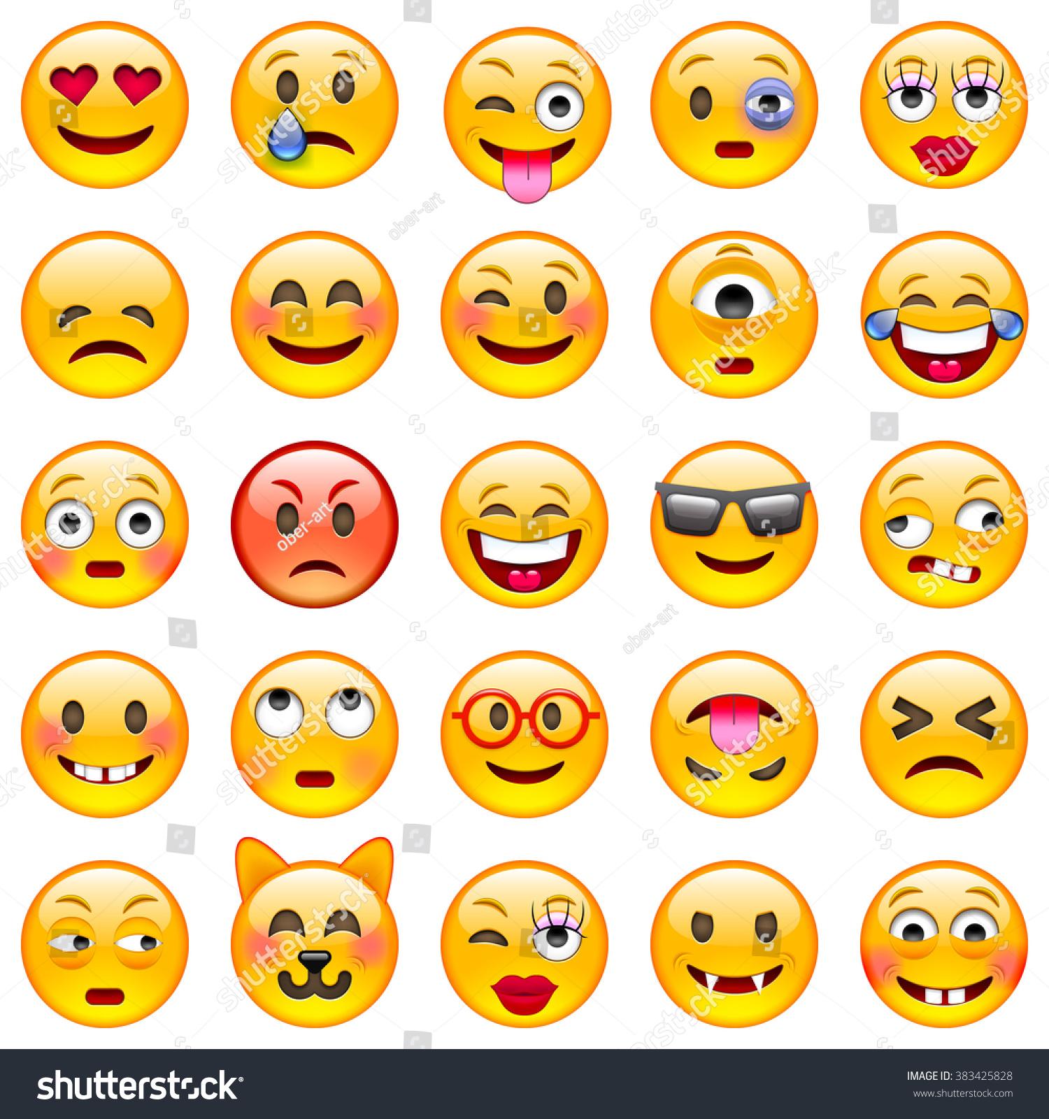 Set Emoticons Set Emoji Smile Icons Stock Vector 383425828 ...