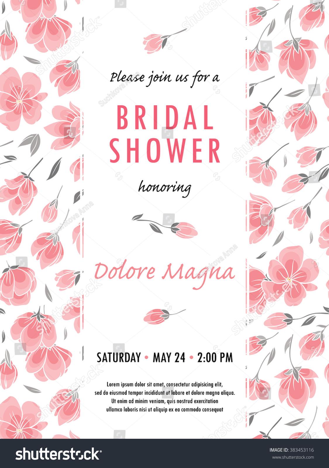 bridal shower advice cards template - invitation bridal shower card cherry sakura stock vector