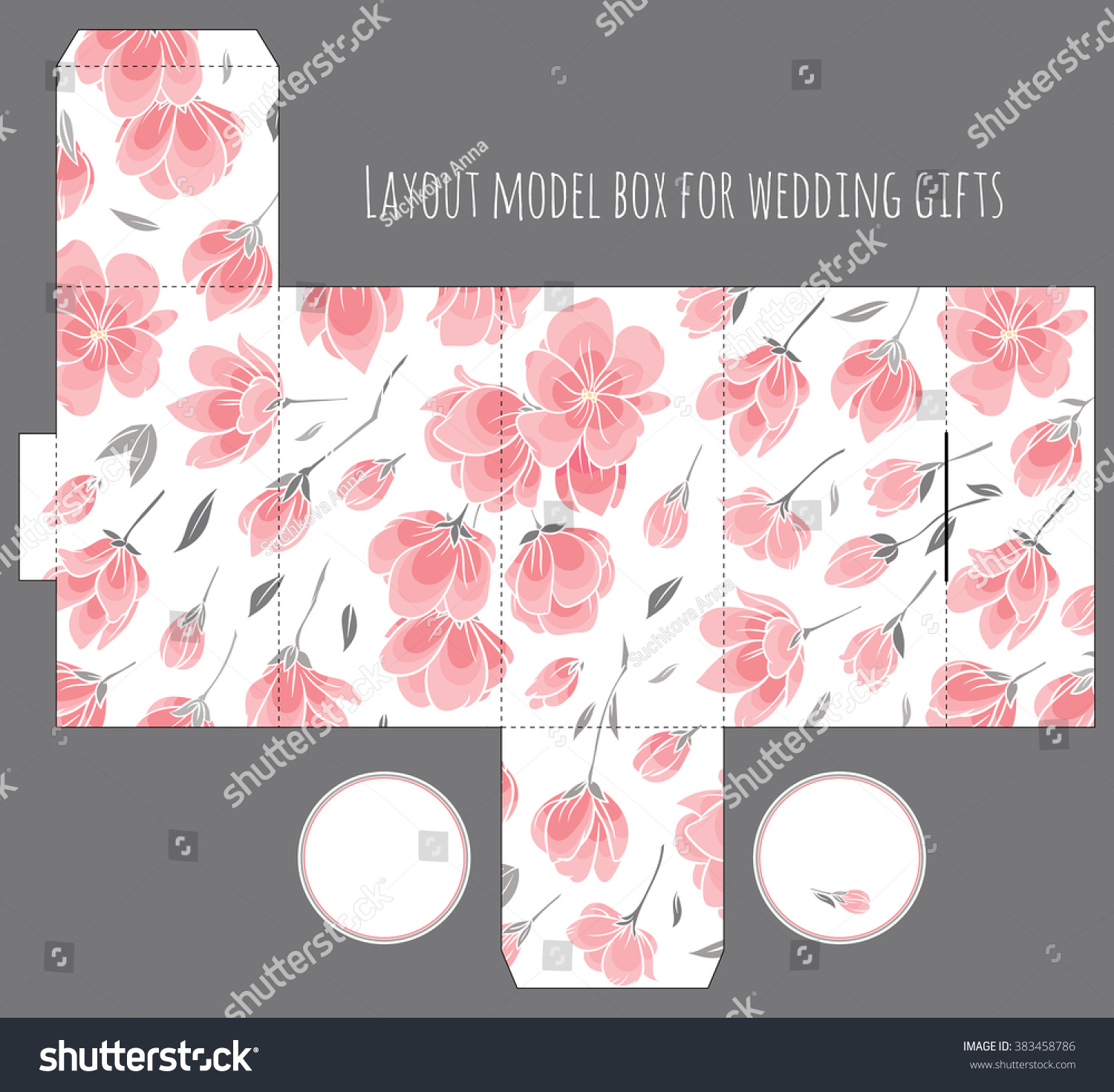 Gift Wedding Favor Box Template Nature Stock Vector (Royalty Free ...