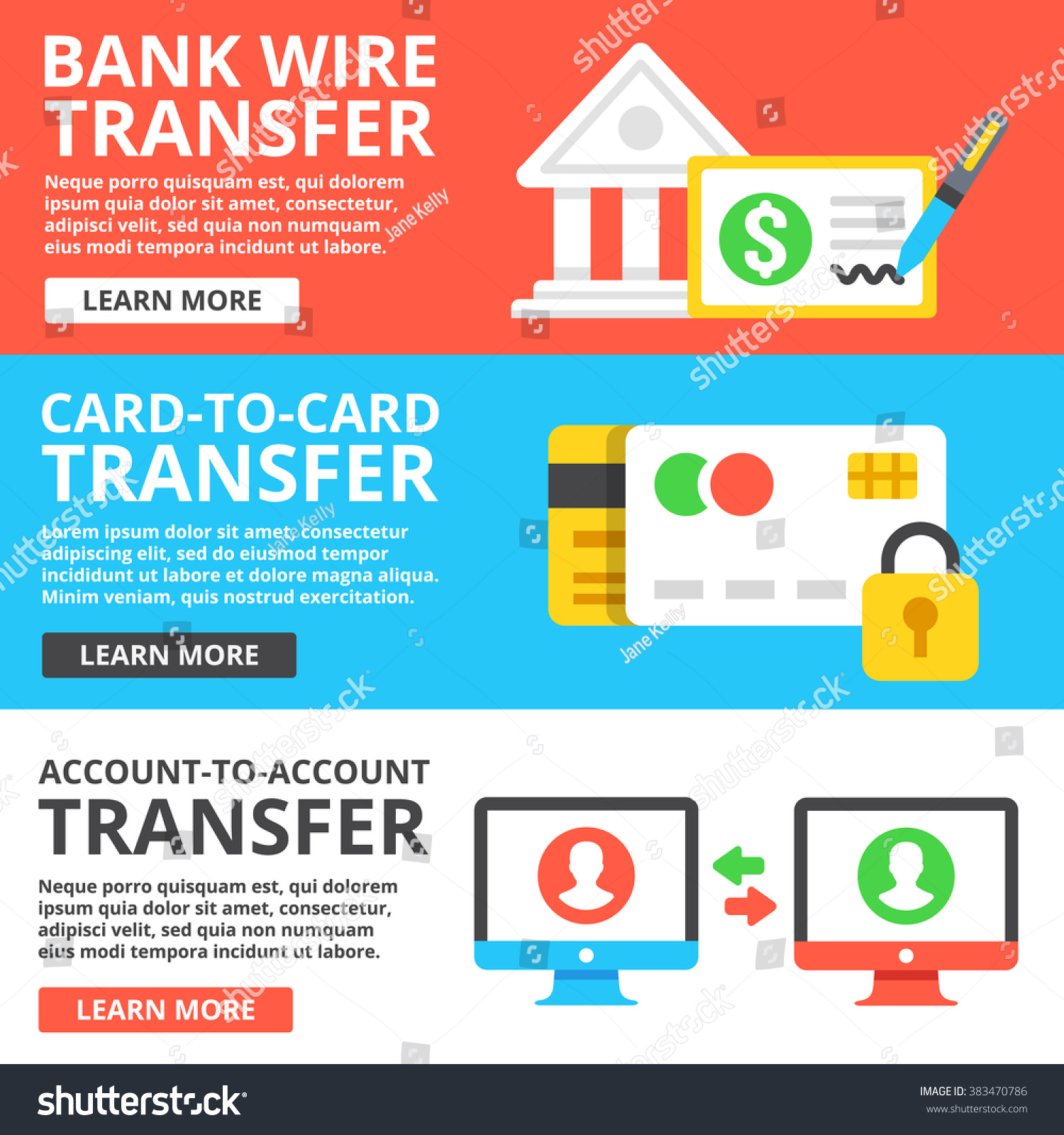 Bank Wire Transfer Card Card Transfer Stock Vector 383470786 ...