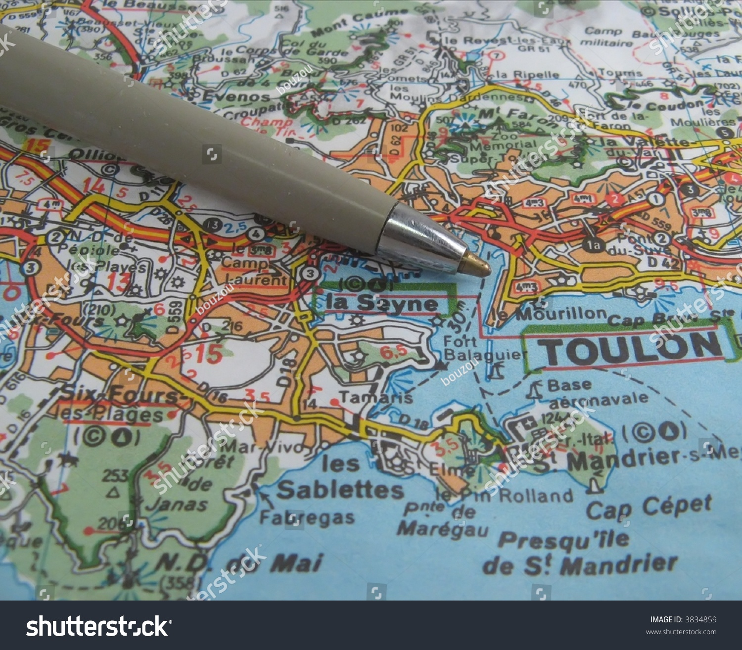 Map South East France Coast Near Stock Photo Royalty Free 3834859