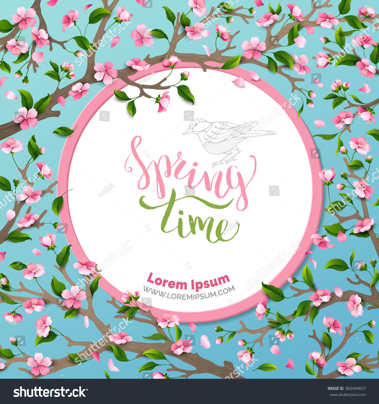 Vector round frame with pink flowers on white background in pastel - Vector Spring Background Spring Time Spring Flowers And Leaves On Tree Round Frame