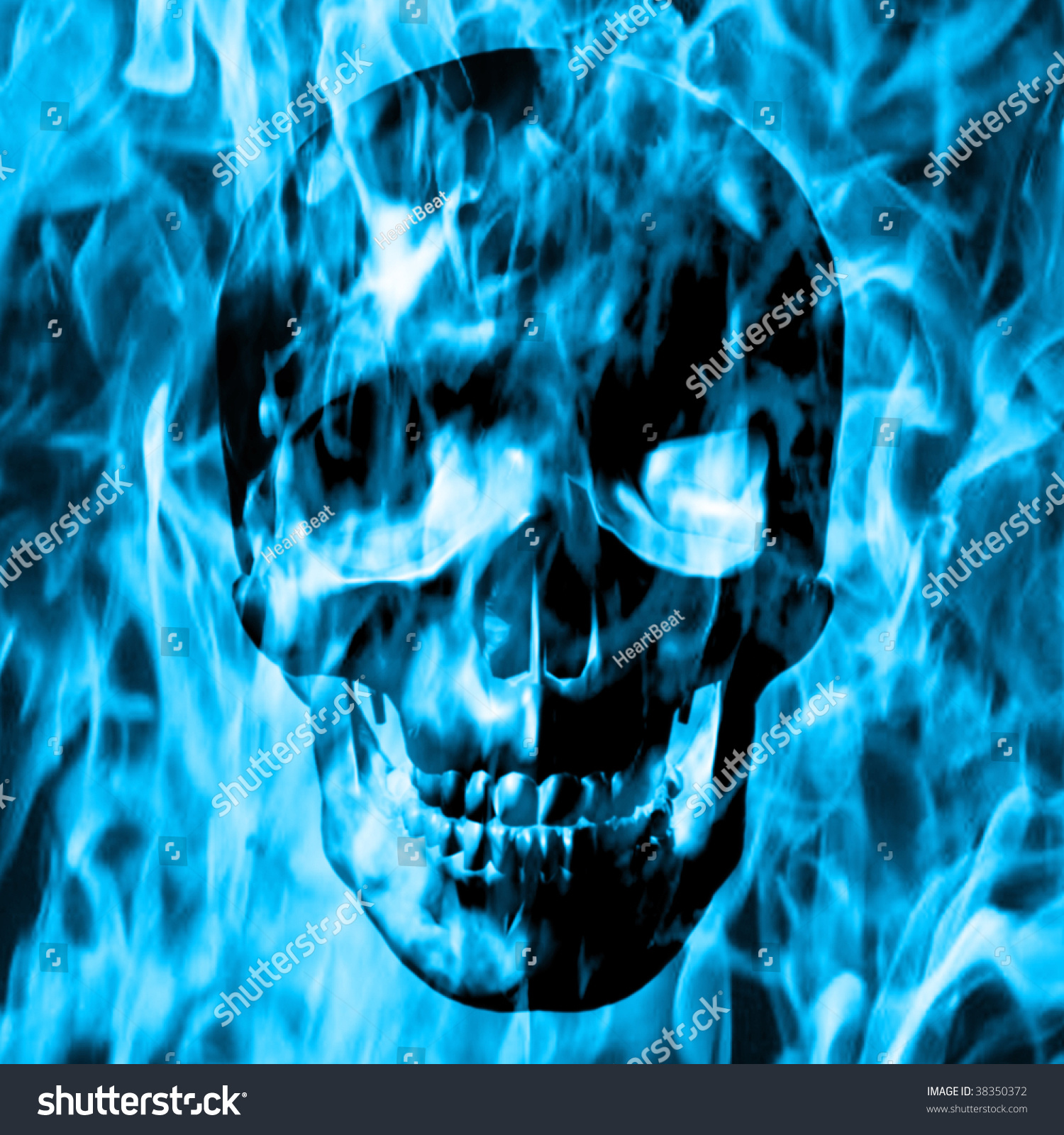 Skull Emerge Blue Fire Blue Smoke Stock Illustration ...