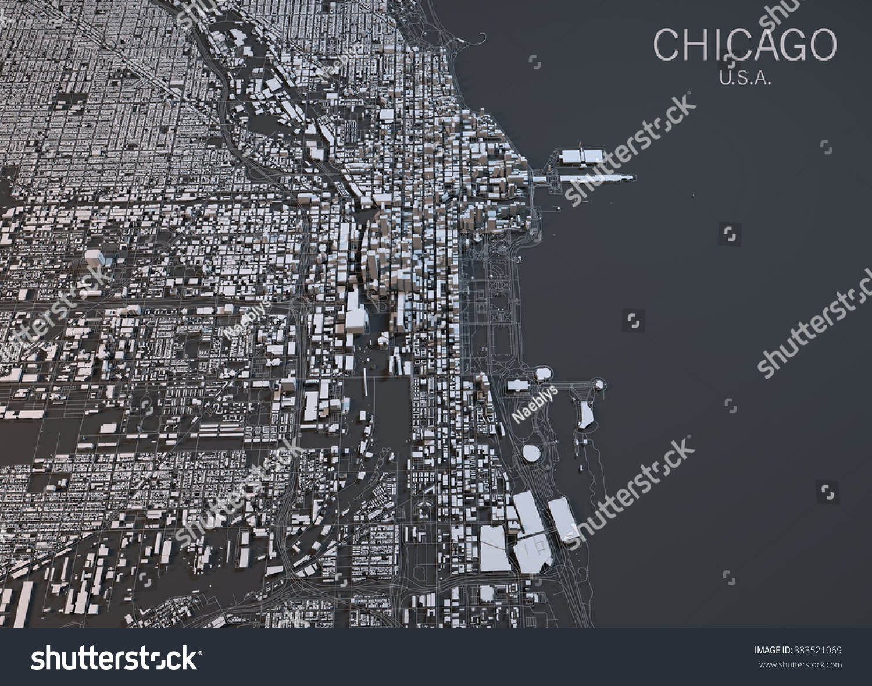 Chicago Map Satellite View Illinois Usa Stock Photo - Chicago map satellite