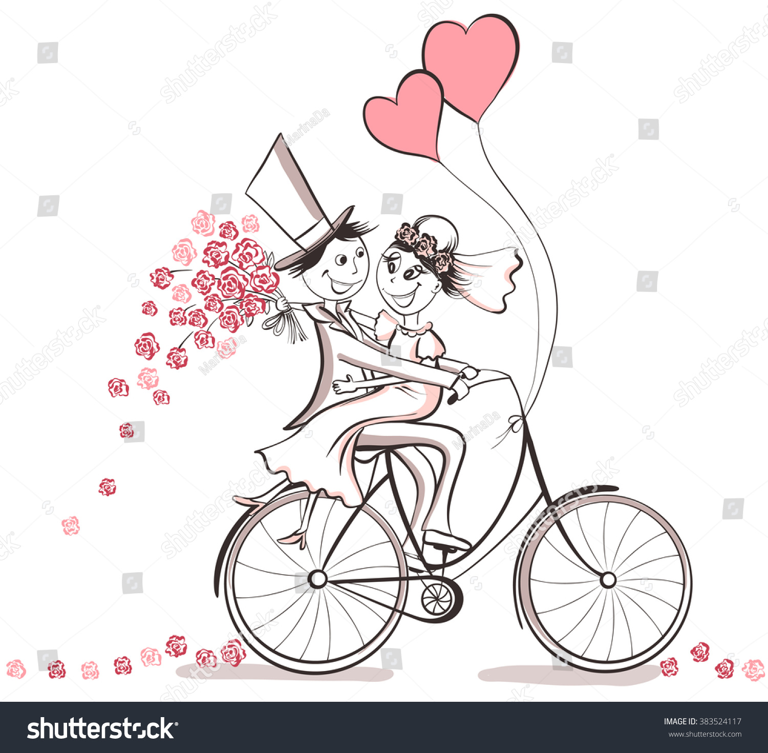 Just Married Hand Drawn Wedding Couple Stock Vector