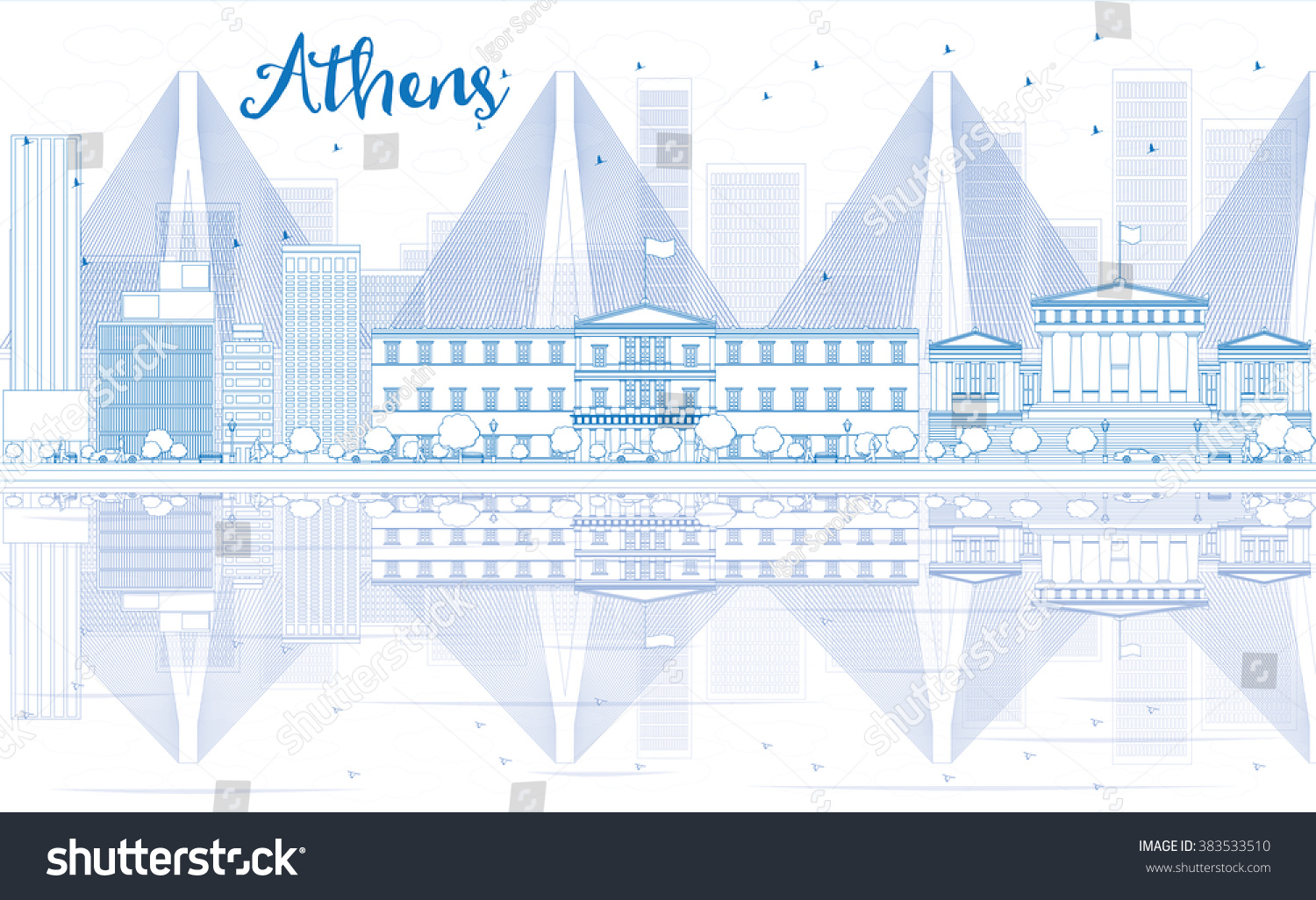 Outline athens skyline with blue buildings and copy space stock vector - Outline Athens Skyline With Blue Buildings And Reflections Vector Illustration Business Travel And Tourism