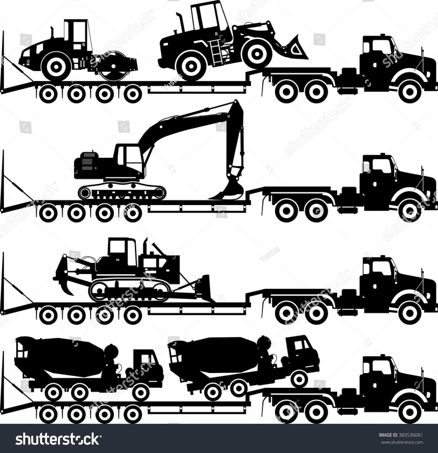 Silhouette Illustration Car Auto Transporter Concrete Stock ...