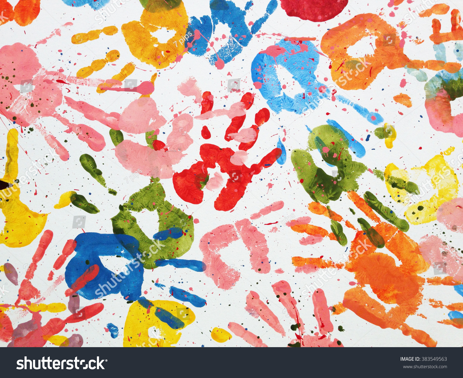Hands Kids Color Art Background Stock Photo 383549563