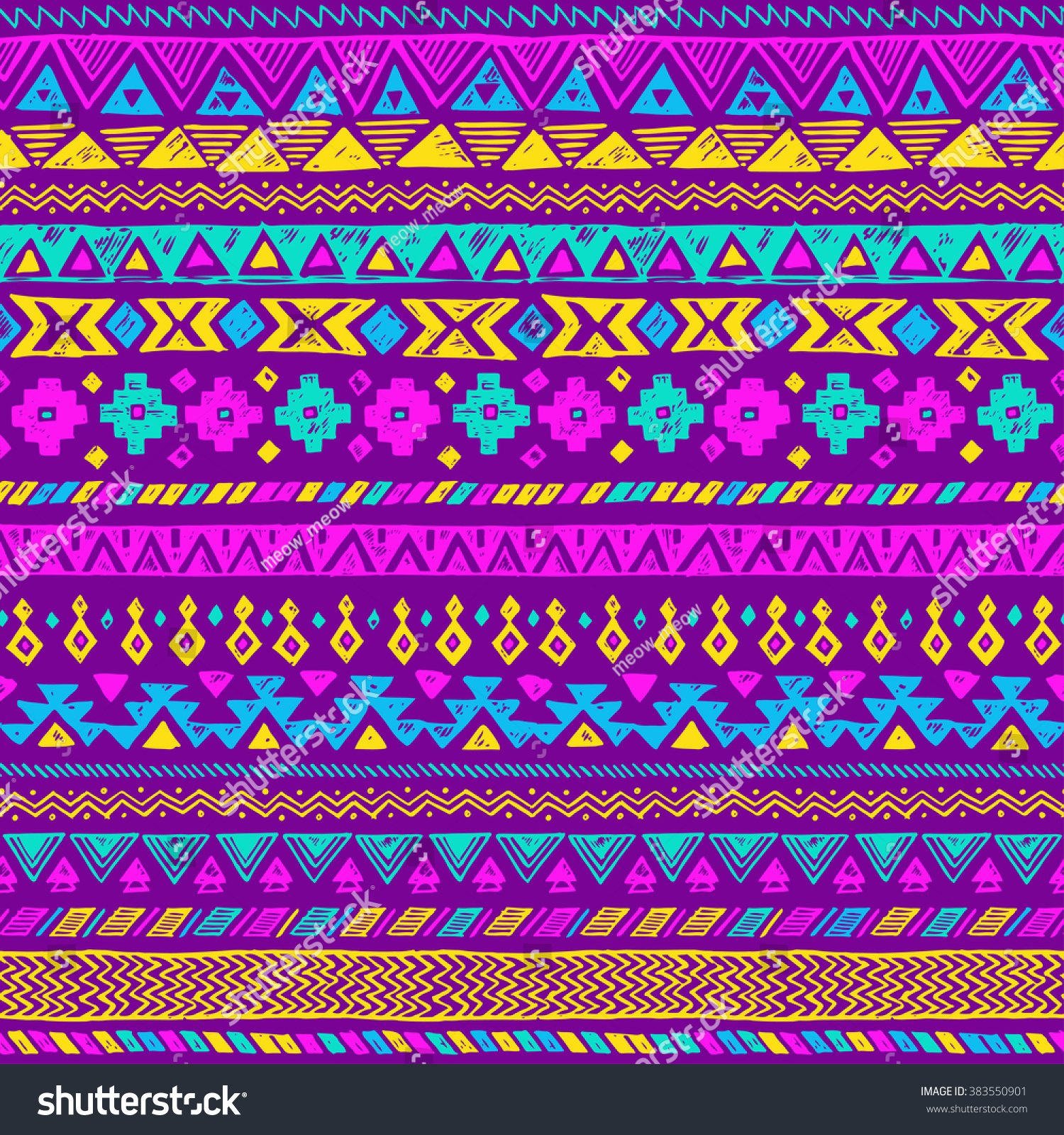 100 Neon Color Tribal Navajo Seamless Black White