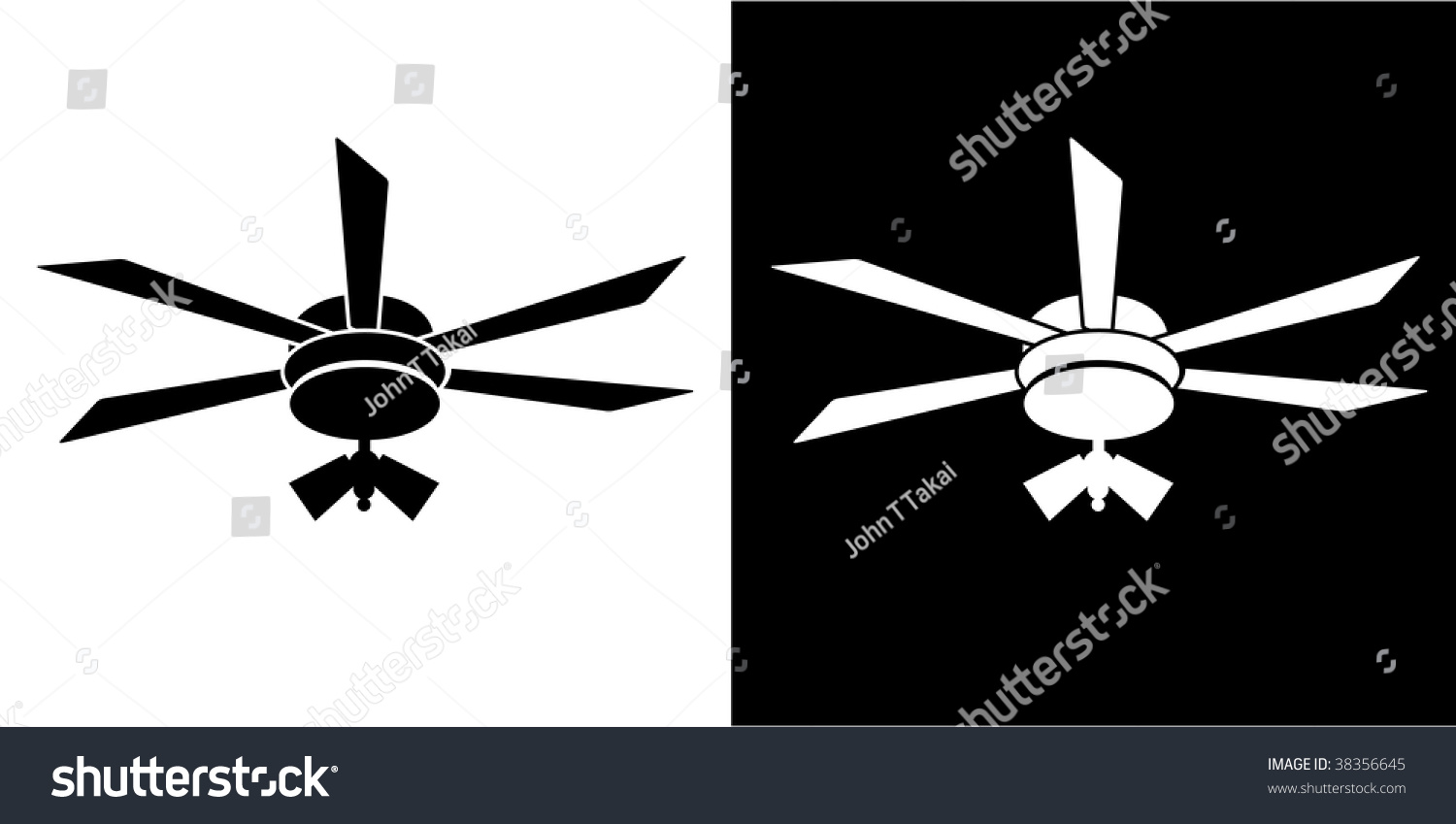 Ceiling Fan Symbol : Ceiling fan icon isolated on a white background stock