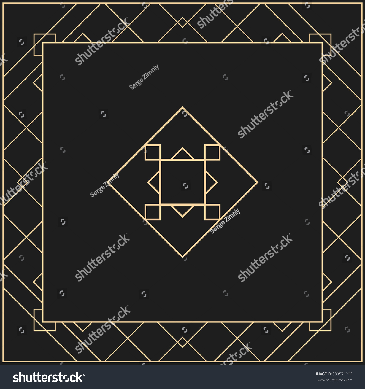 vector geometric frame art deco style stock vector 383571202 shutterstock. Black Bedroom Furniture Sets. Home Design Ideas
