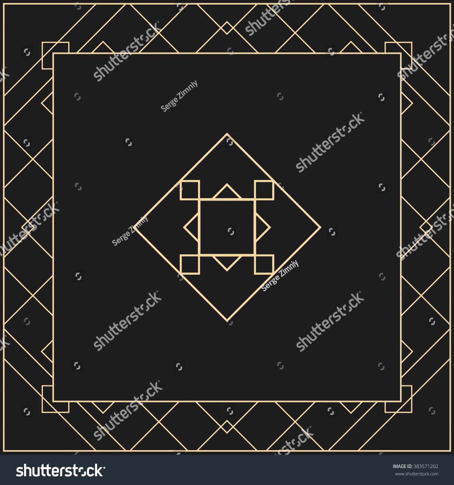 vector geometric frame art deco style stock vector 383571202 shutterstock. Black Bedroom Furniture Sets. Home Design Ideas