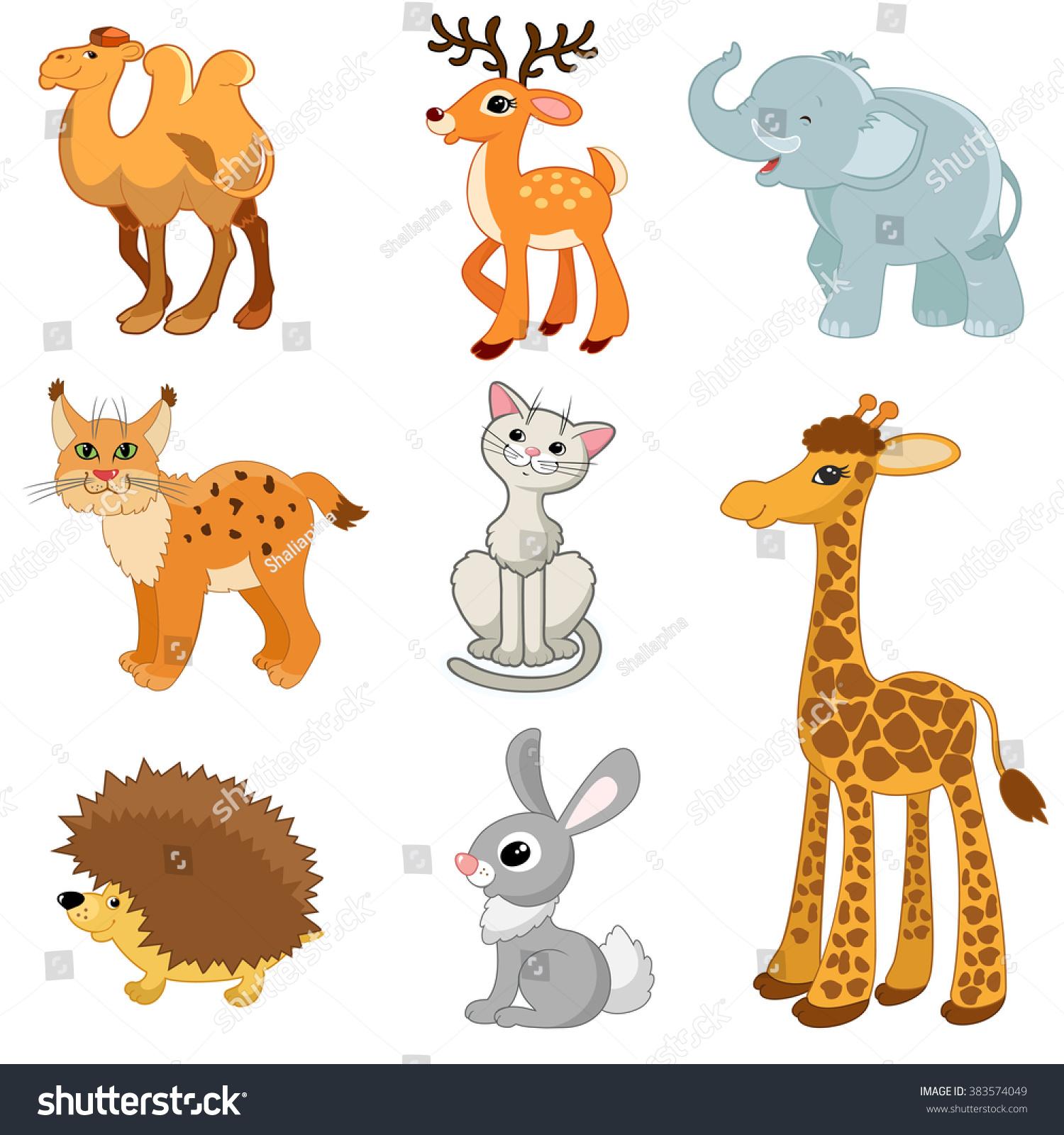 educational pictures animals camel deerelephant lynx stock vector