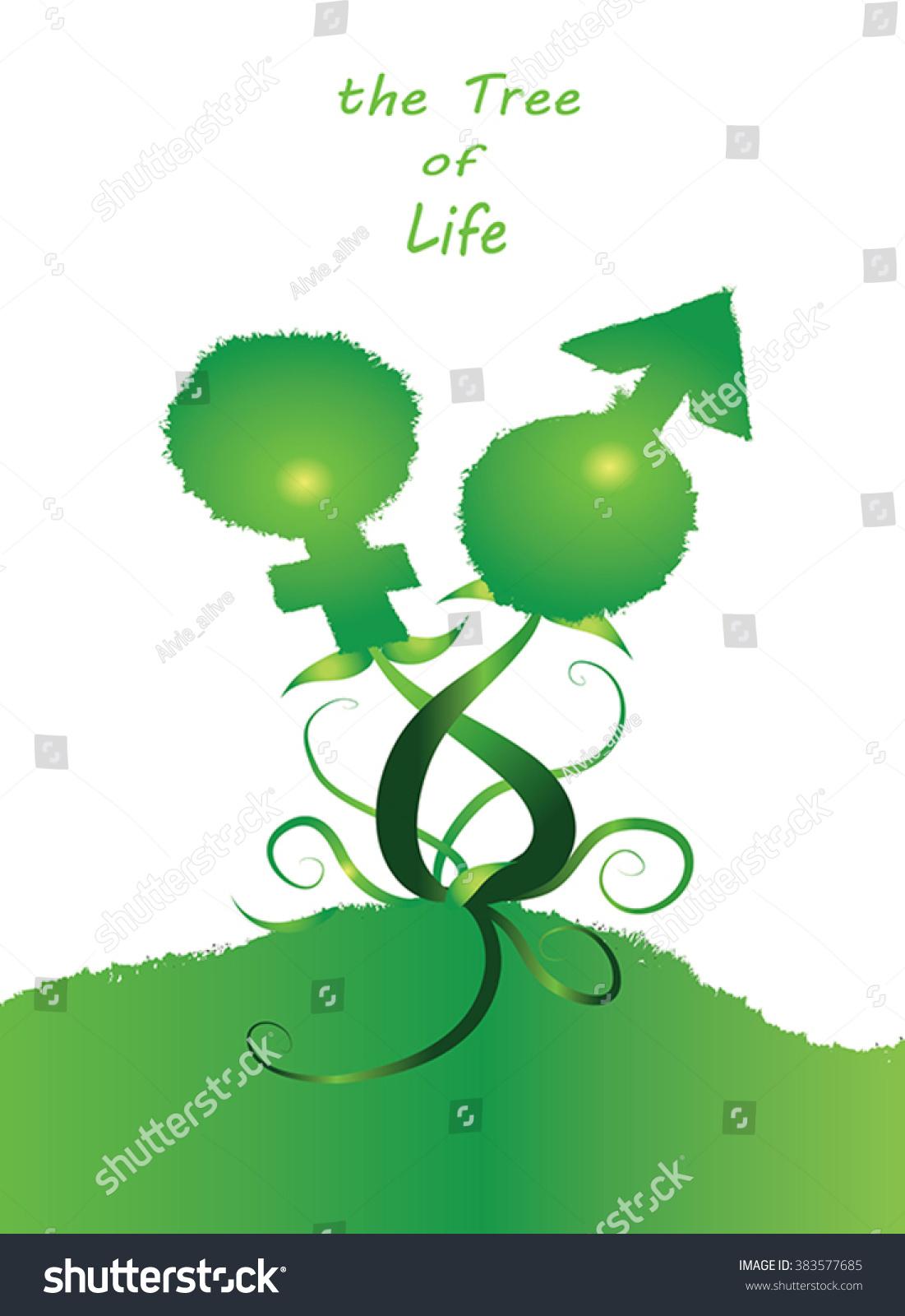 Tree Life Little Green Man Woman Stock Vector 383577685 - Shutterstock