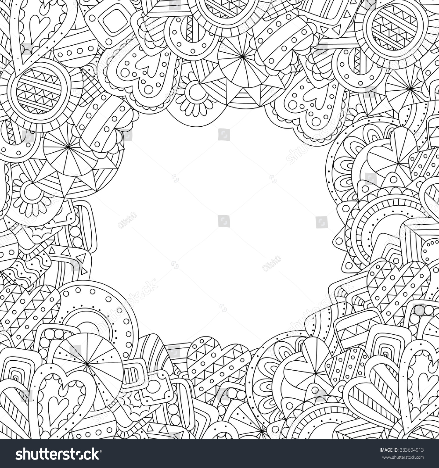 abstract hand drawn zentangle style square stock vector