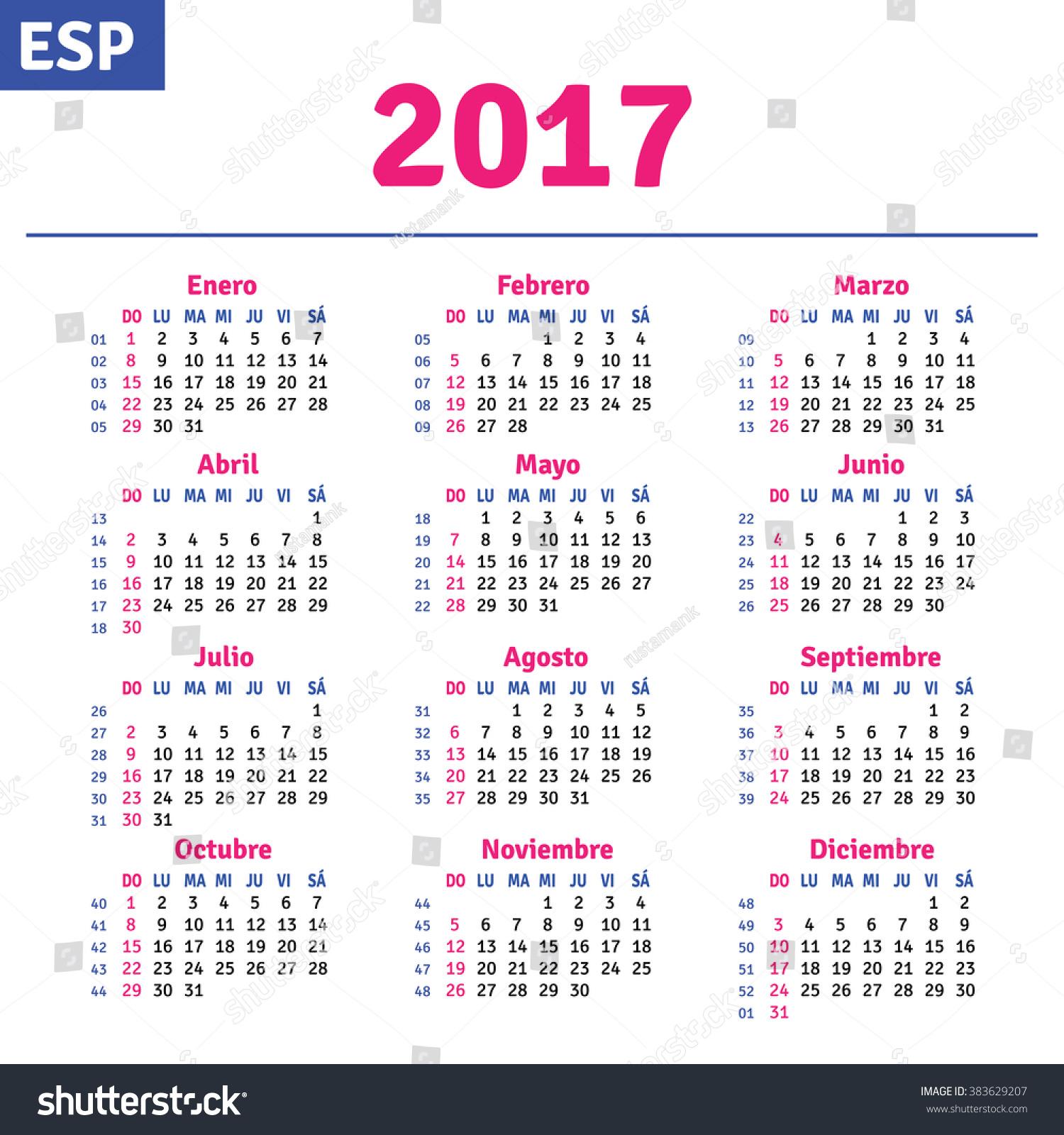 Spanish Calendar 2017 Horizontal Calendar Grid Stock Vector ...