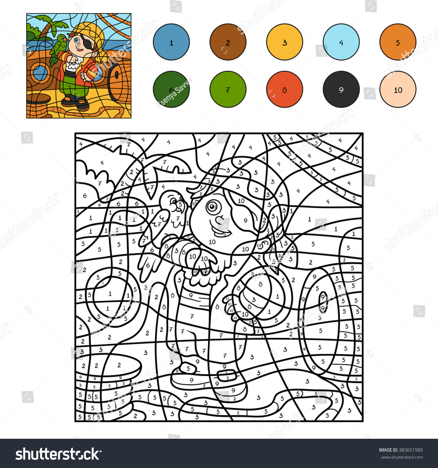 Color By Number Education Game Children Stock Vector 383651989 ...