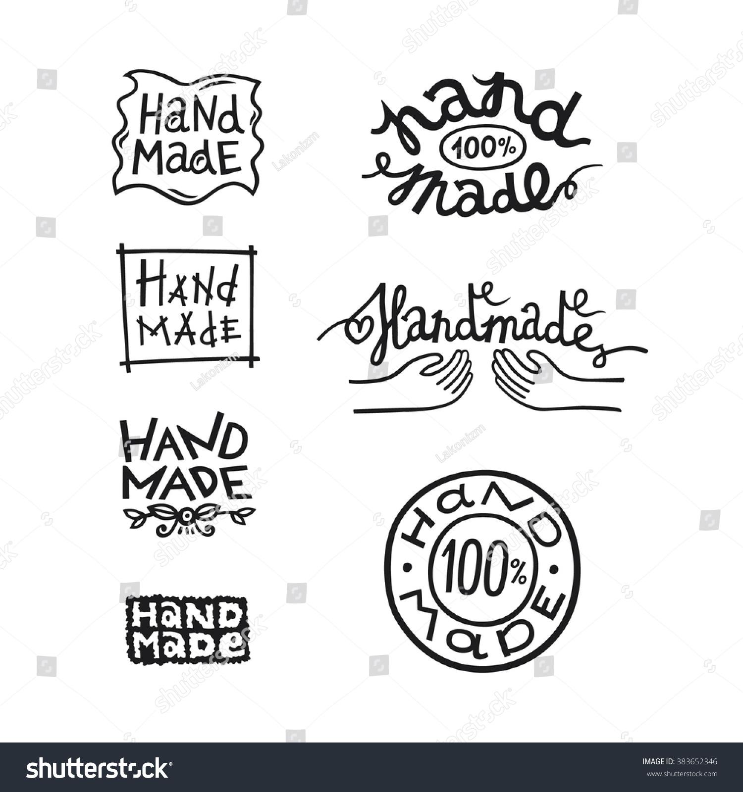 Set vintage handmade badges labels logo stock vector 383652346 set of vintage handmade badges labels and logo elements retro symbols for local sewing biocorpaavc Images