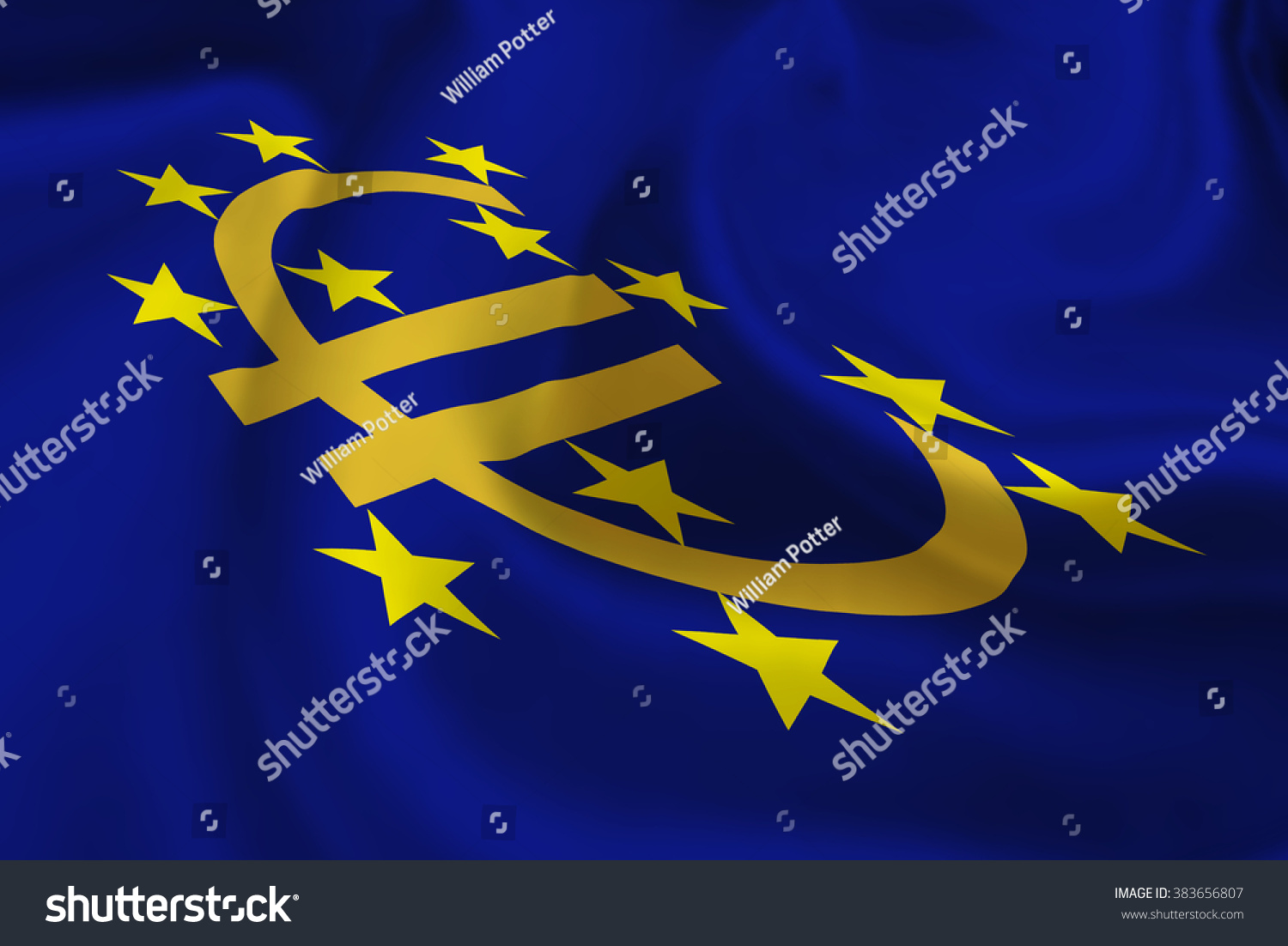 Flag Euro Currency Symbol 12 Yellow Stock Illustration 383656807