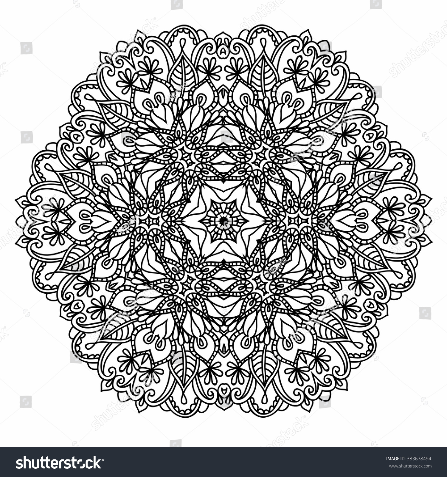 Ornamental Round Pattern Floral Elements Smart Stock