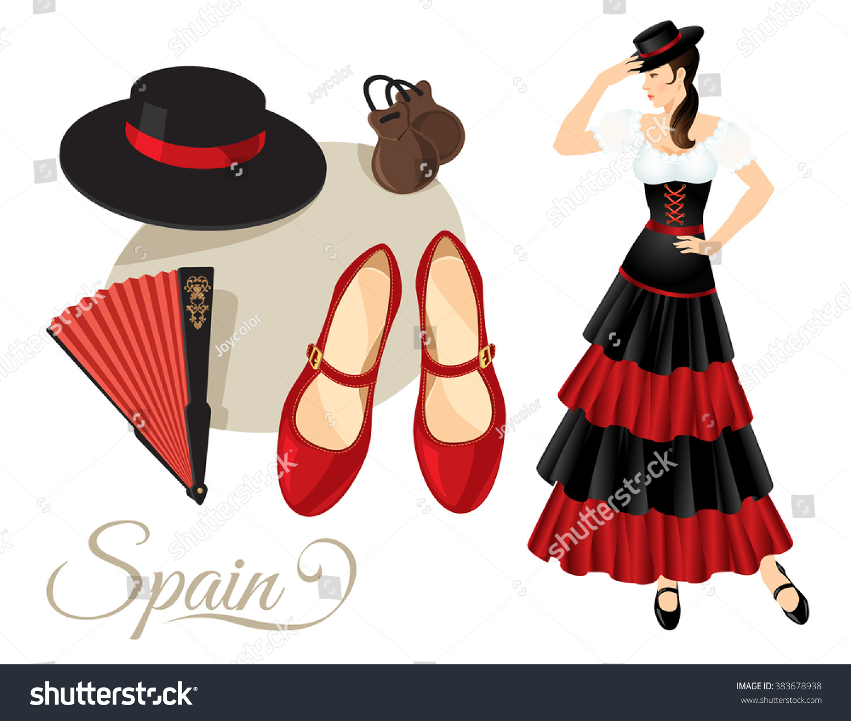 vector illustration flamenco dancer spanish folk stock vector