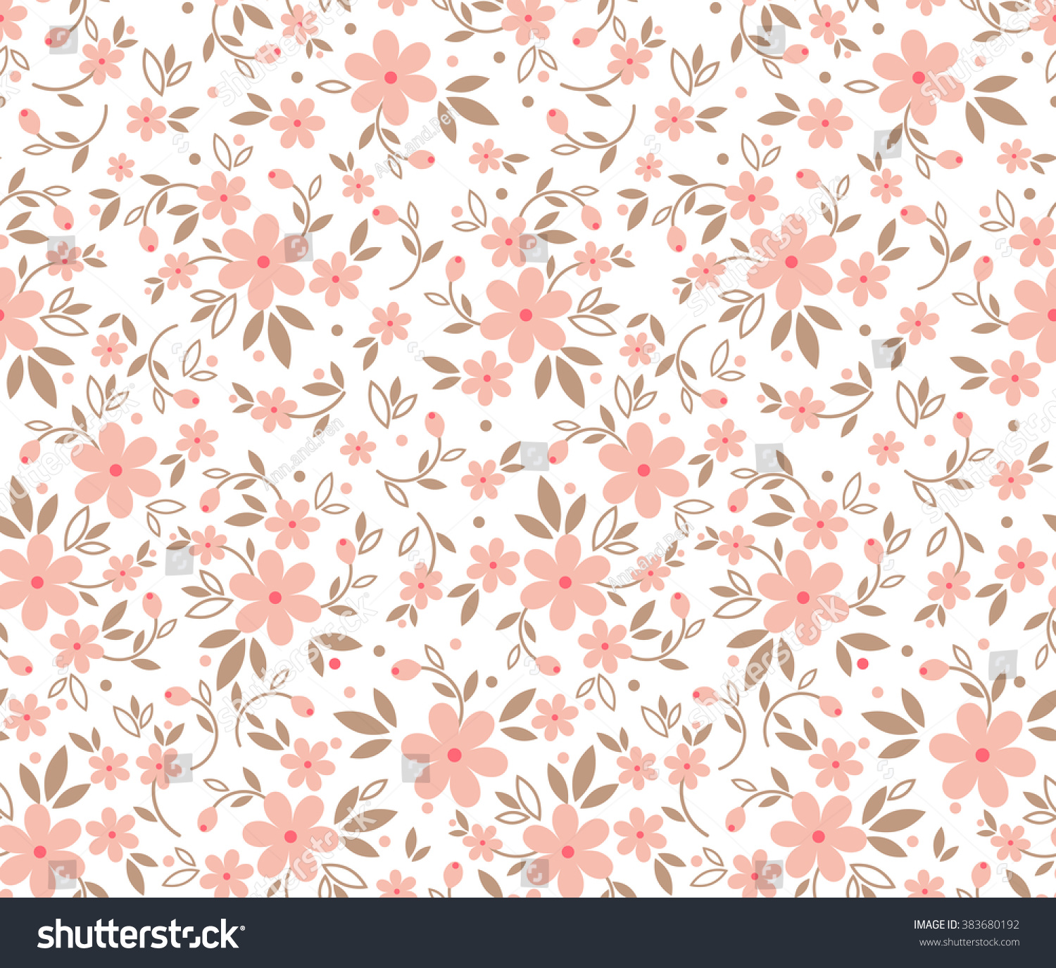 Cute Pattern Small Flower Small Pink Vectores En Stock