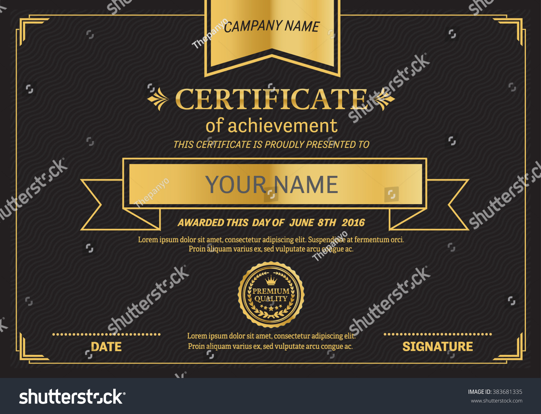 Black Gold Elegant Certificate Template Vector Stock Vector Royalty