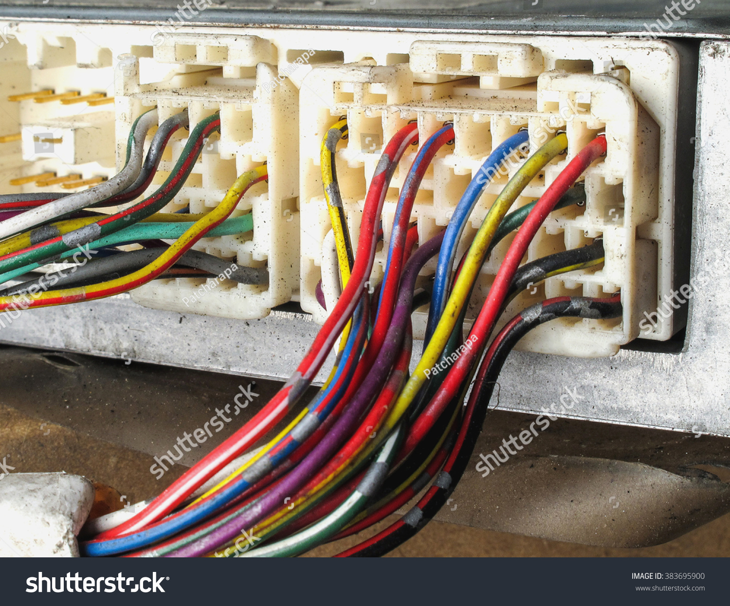 Electric Wiring Back View Old Car Stock Photo Edit Now 383695900 Circuit Supplied With The Control Unit From Of Engine Ecu Selective