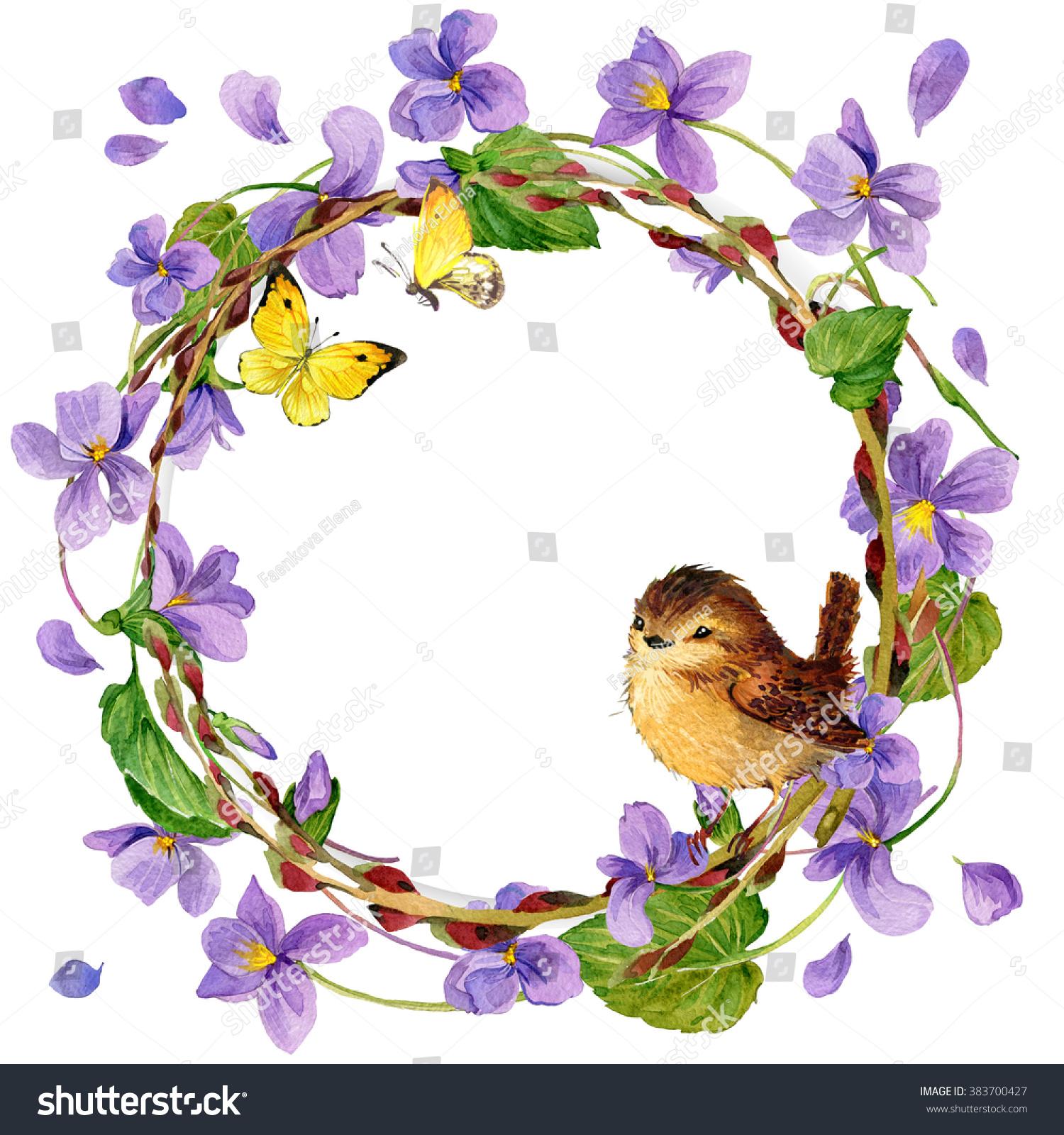 Cute spring flower - Watercolor Spring Flowers Wreath And Bird Watercolor Flowers Flowers Frame Cute Bird