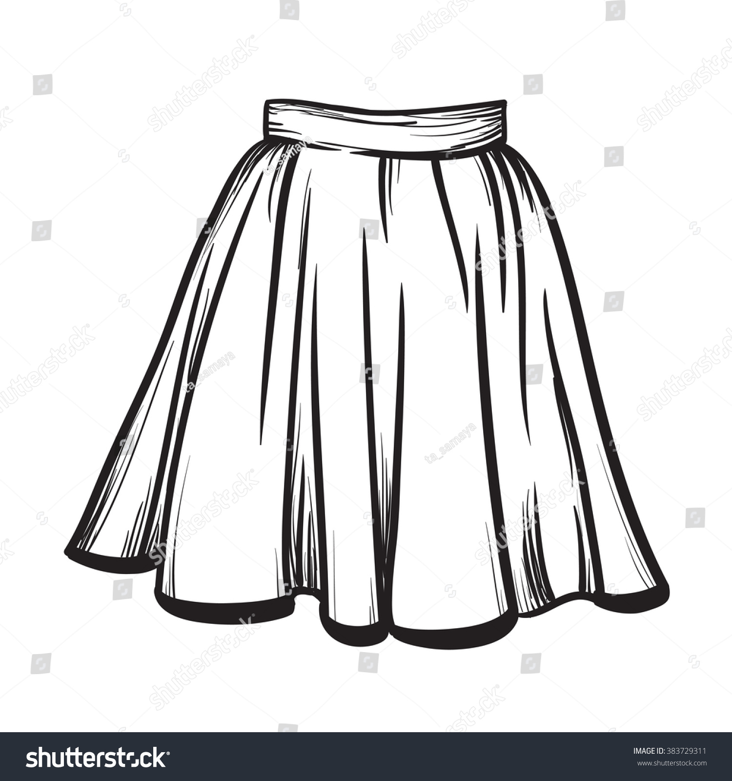 Skirt Hand Drawn Vector Illustration Black On White Line ...