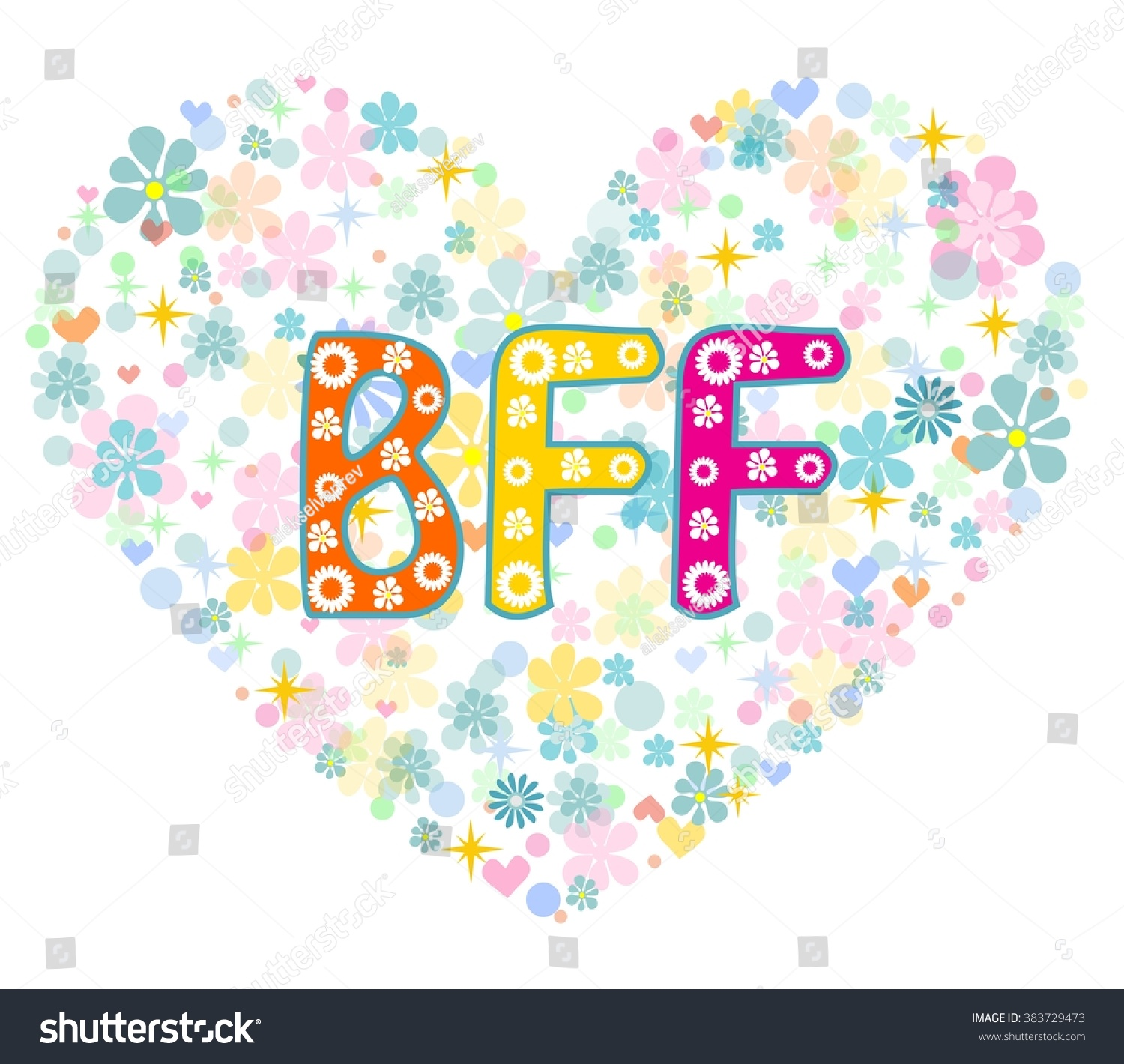 bff best friends forever heart shaped stock vector