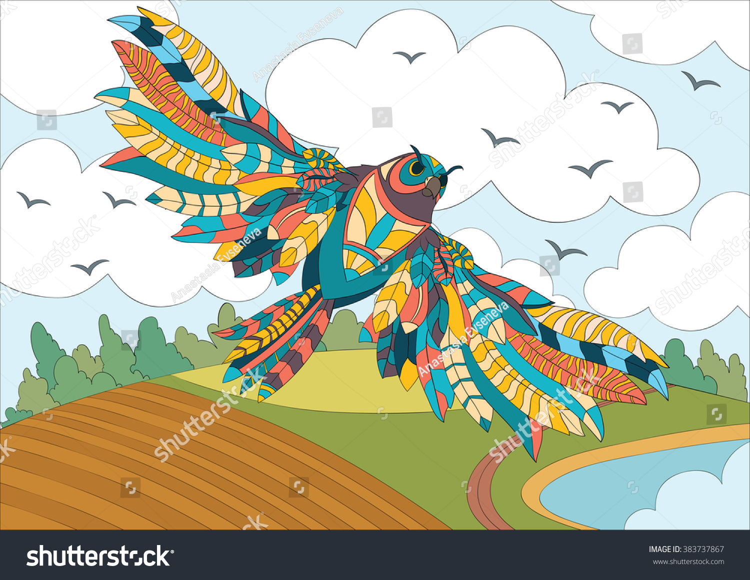 Art color therapy - A4 Vector Colorful Zentangle Stylized Abstract Wise Owl Fly And Flora Art And Color Therapy