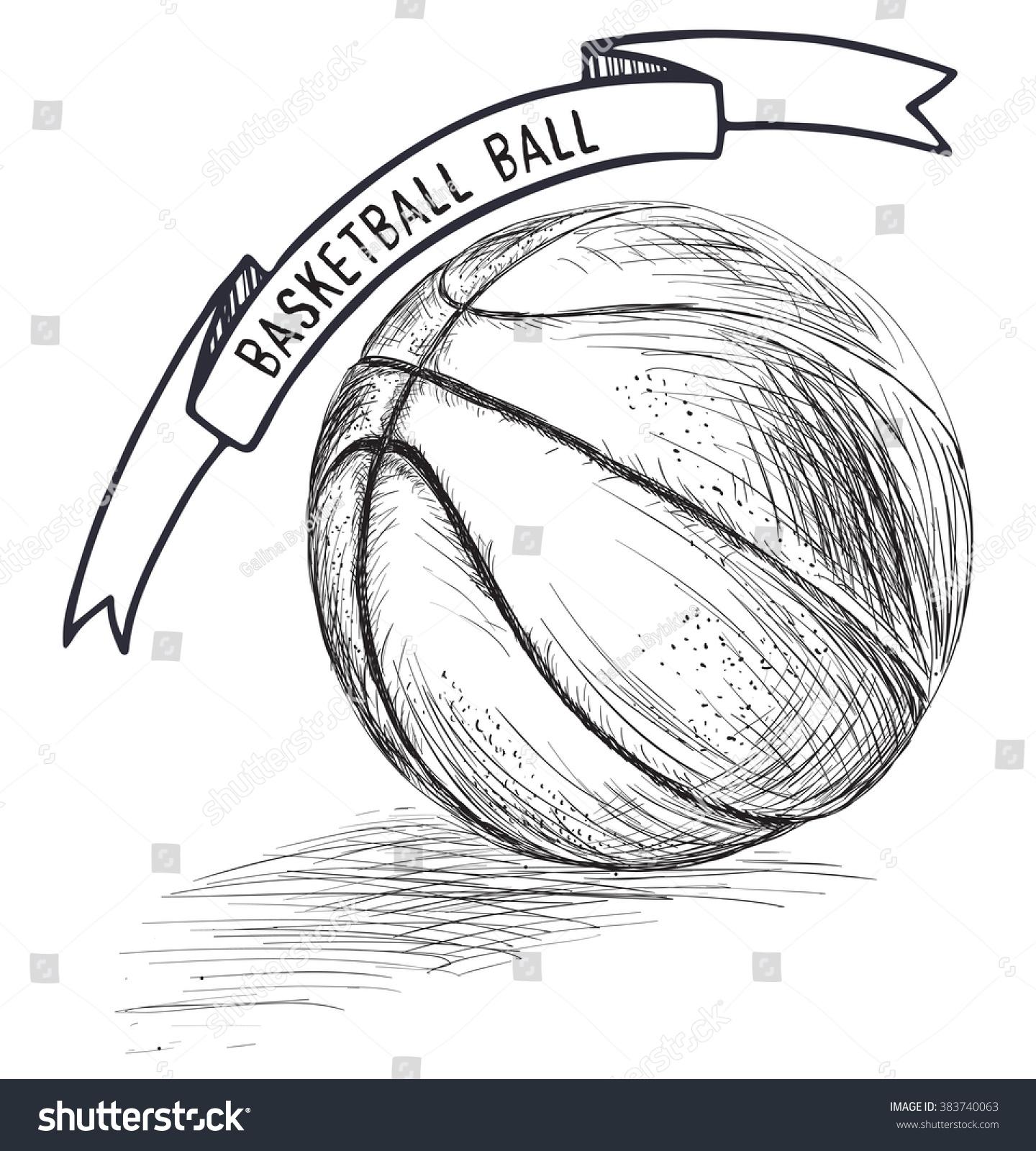 Basketball Sketch Style Vector Illustration Basketball Stock ...