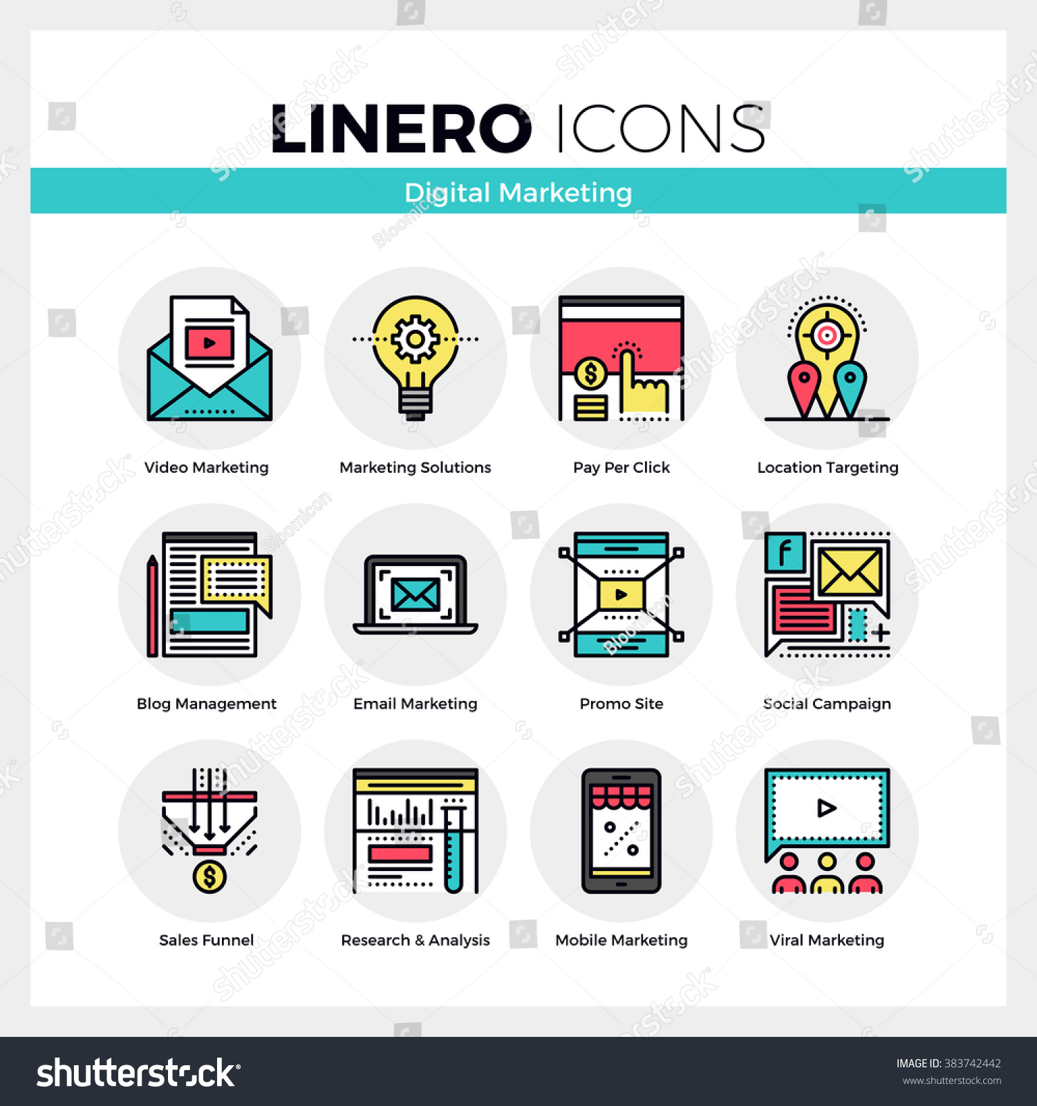 Viral Ad: Line Icons Set Of Digital Marketing And Viral Advertising