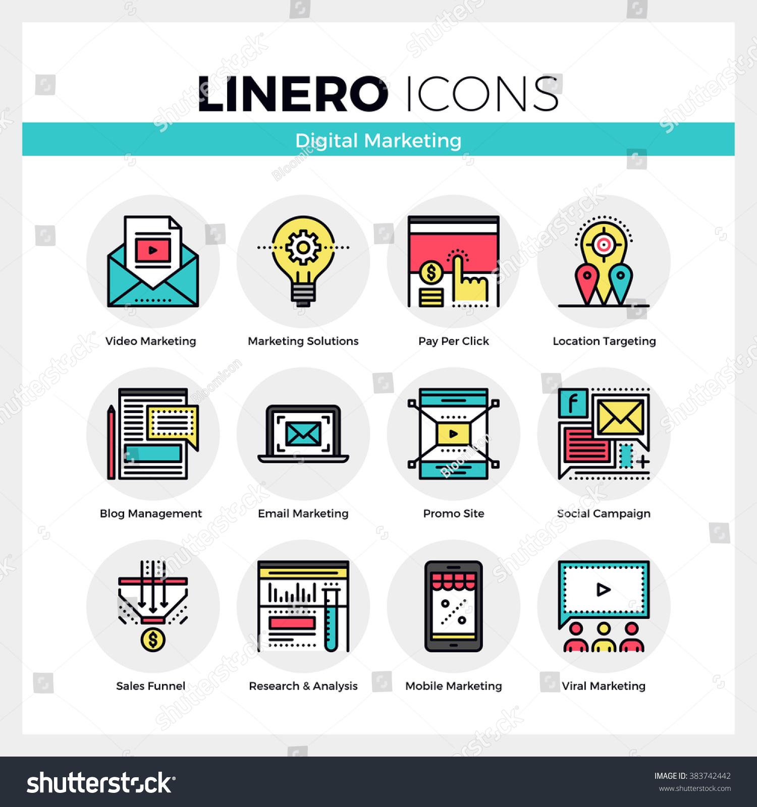 Line icons set digital marketing viral stock vector for Digital marketing materials