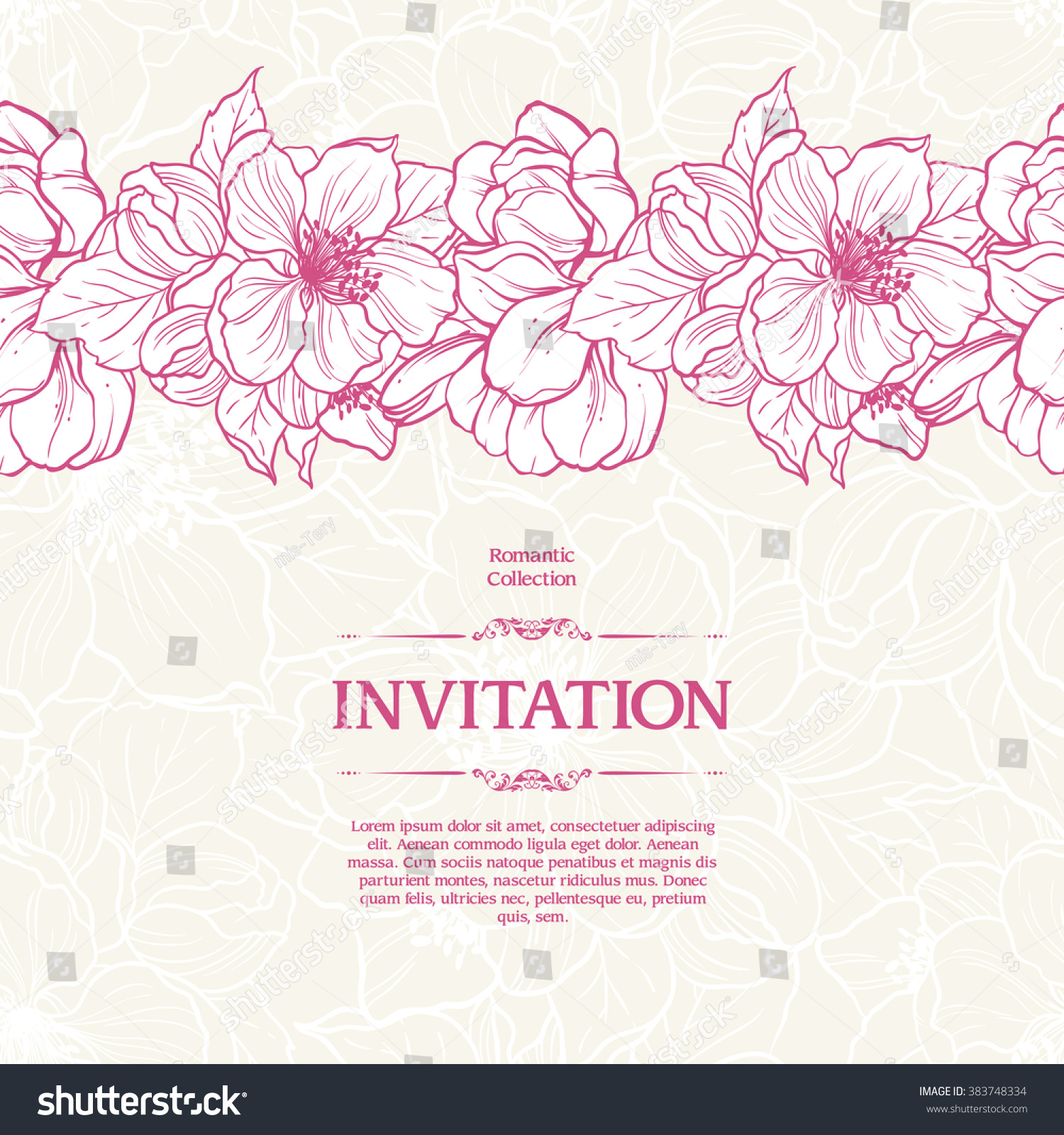 Romantic vector seamless background greeting card wallpaper vector art - Vintage Background With Seamless Floral Pattern And Spring Flowers Border Vector Botanical Illustration Template
