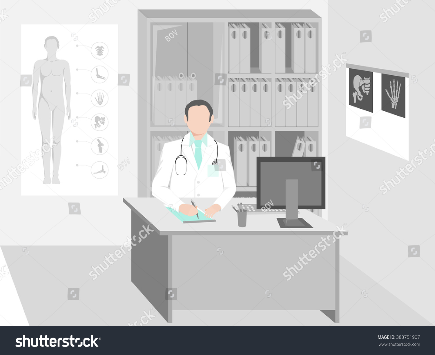 Doctor Sitting Desk Office On Wall Stock Vector 383751907 ...