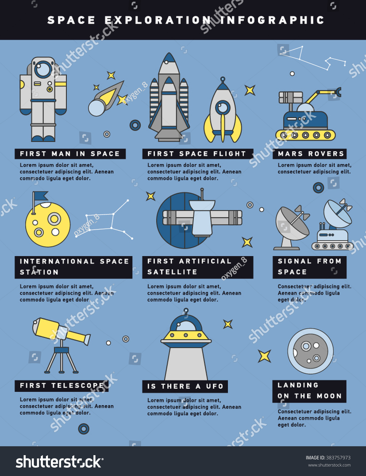 Space Exploration Timeline Infographic Layout Poster Stock Vector ...