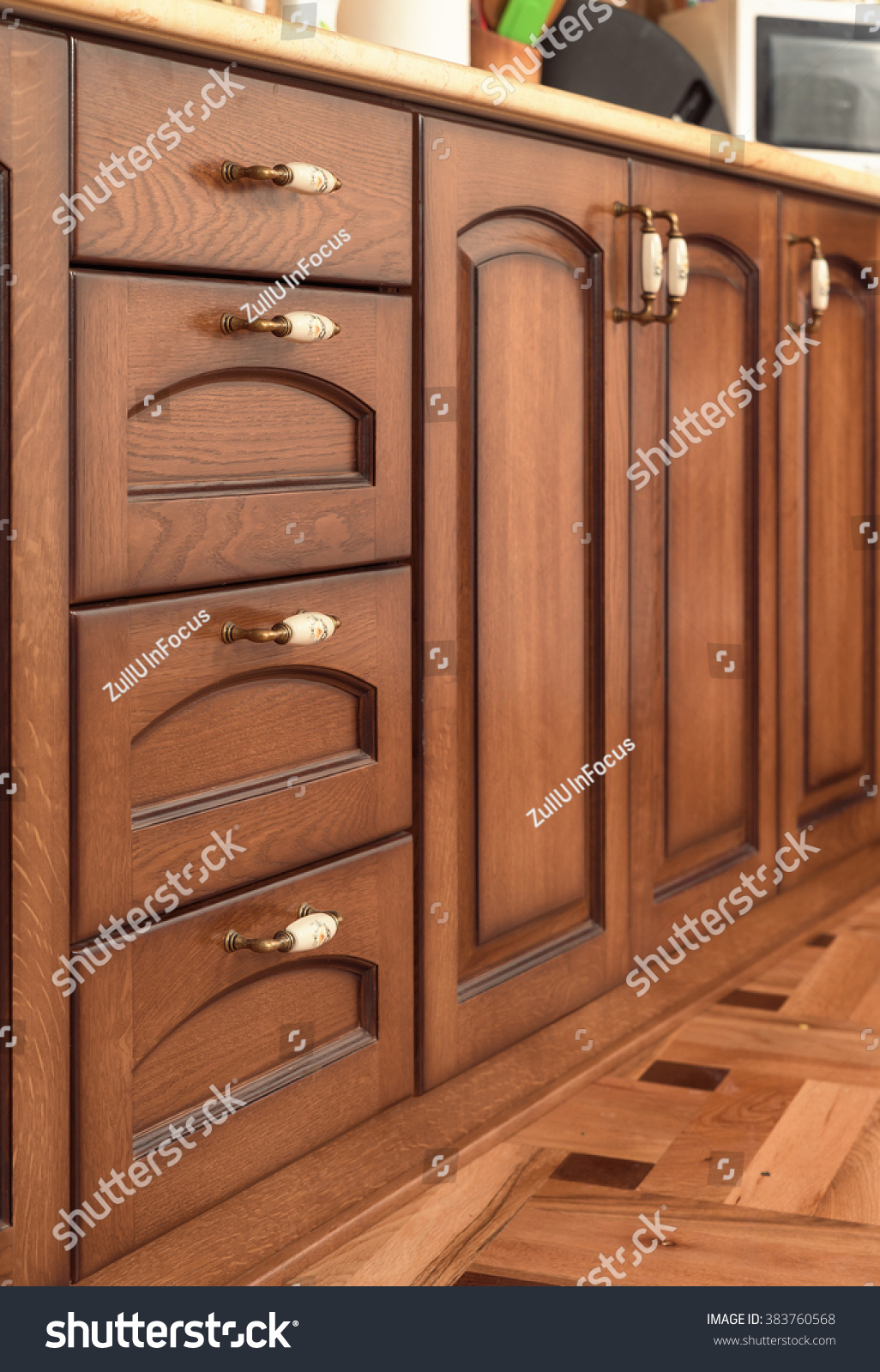 Solid Wood Kitchen Furniture Solid Wood Kitchen Furniture Interior Detail Stock Photo 383760568