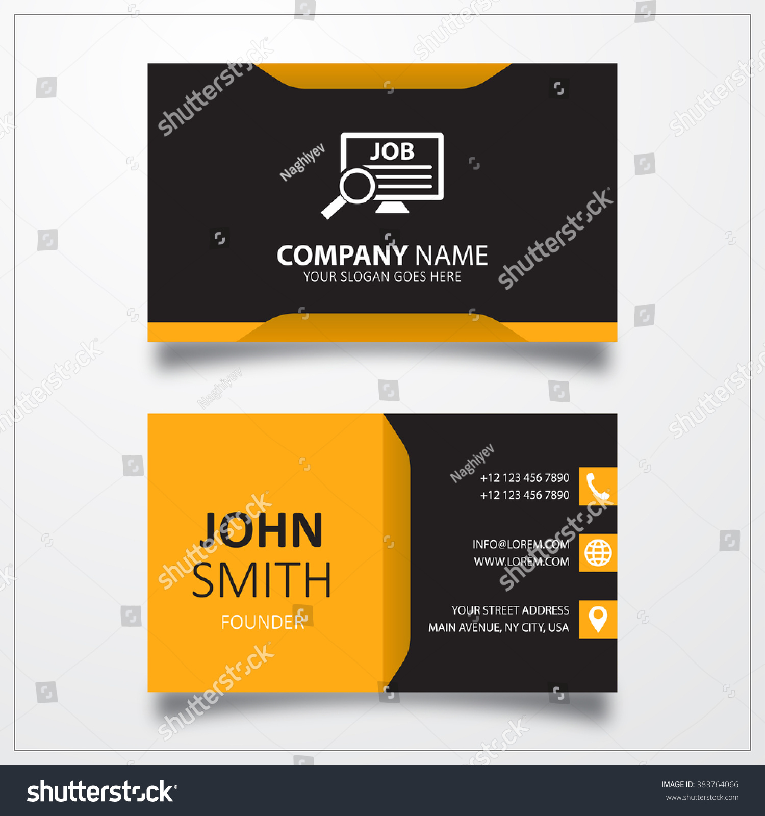 job search icon business card template stock photo  job search icon business card template