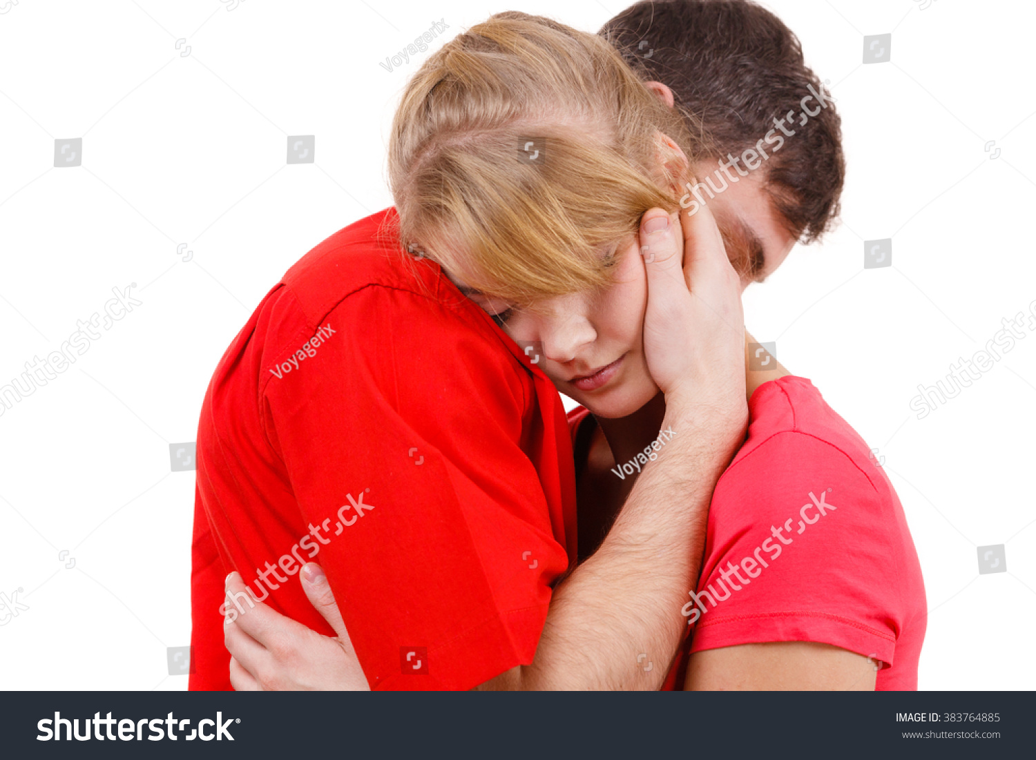 Couple Hugging Woman Sad Being Consoled Stock Photo ...